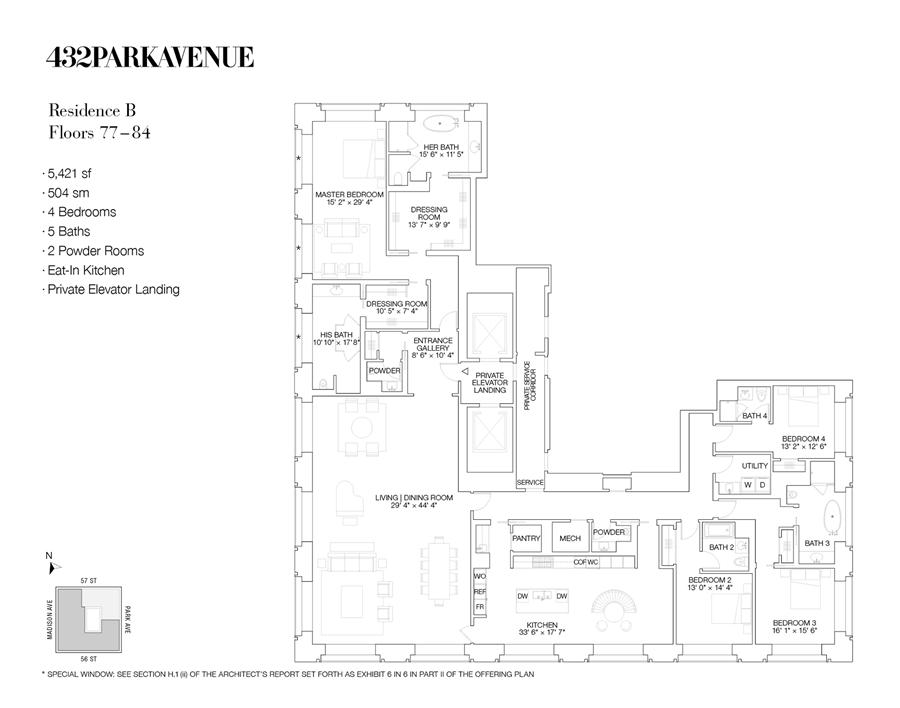 Floor plan of 432 Park Avenue, 80B - Midtown, New York