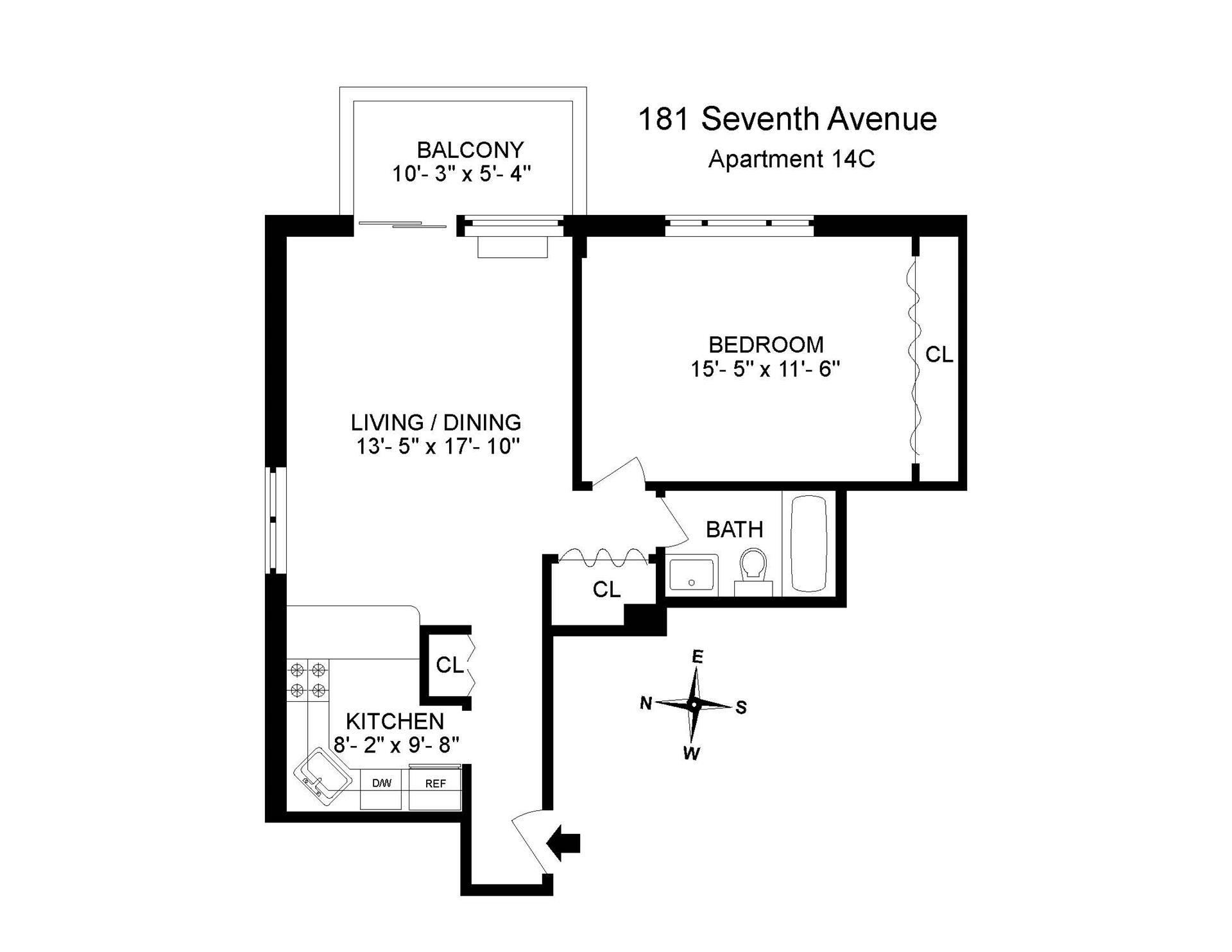 Floor plan of The Atrium at Chelsea, 181 Seventh Avenue, 14C - Chelsea, New York