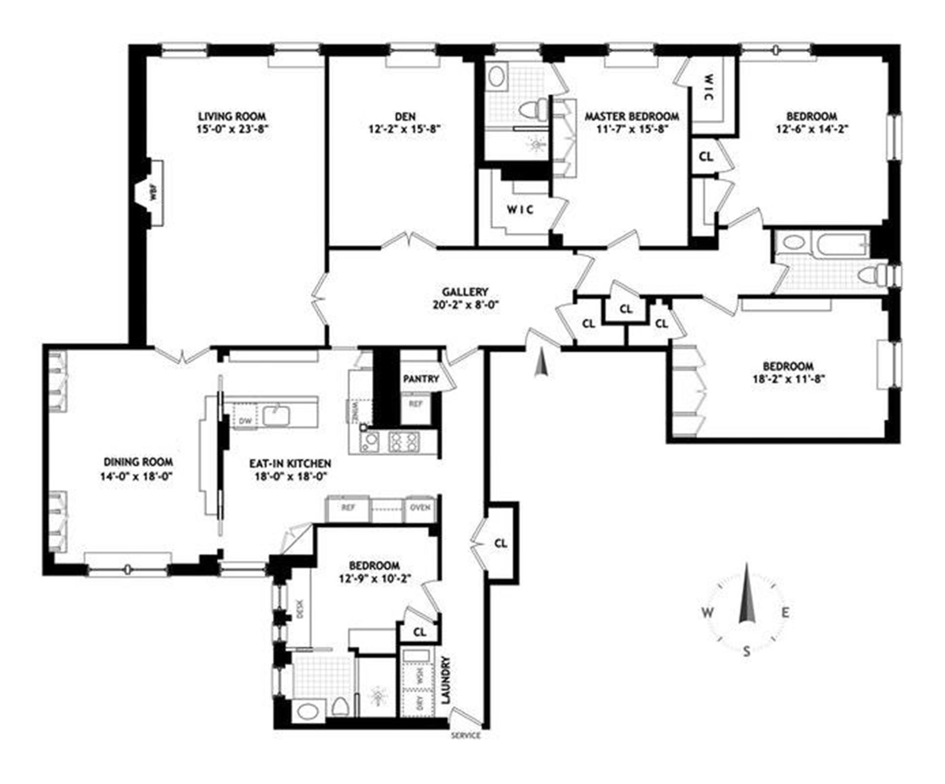 Floor plan of 1148 Fifth Avenue, 14C - Carnegie Hill, New York