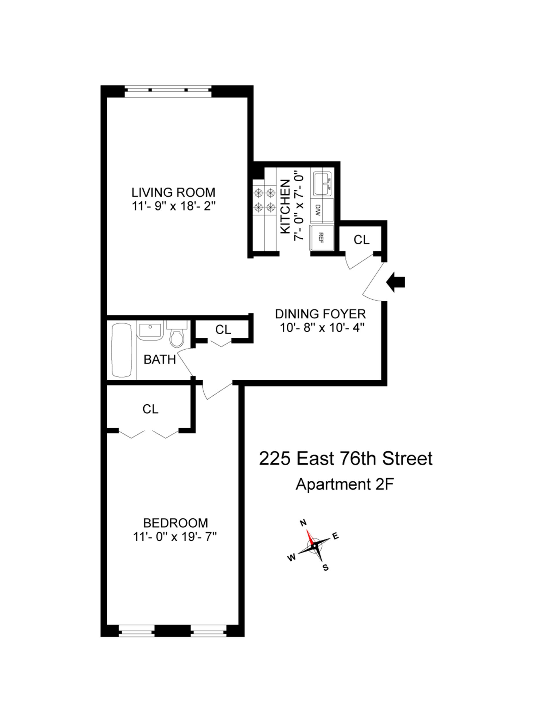 Floor plan of 225 E 76TH OWNERS C, 225 East 76th St, 2F - Upper East Side, New York