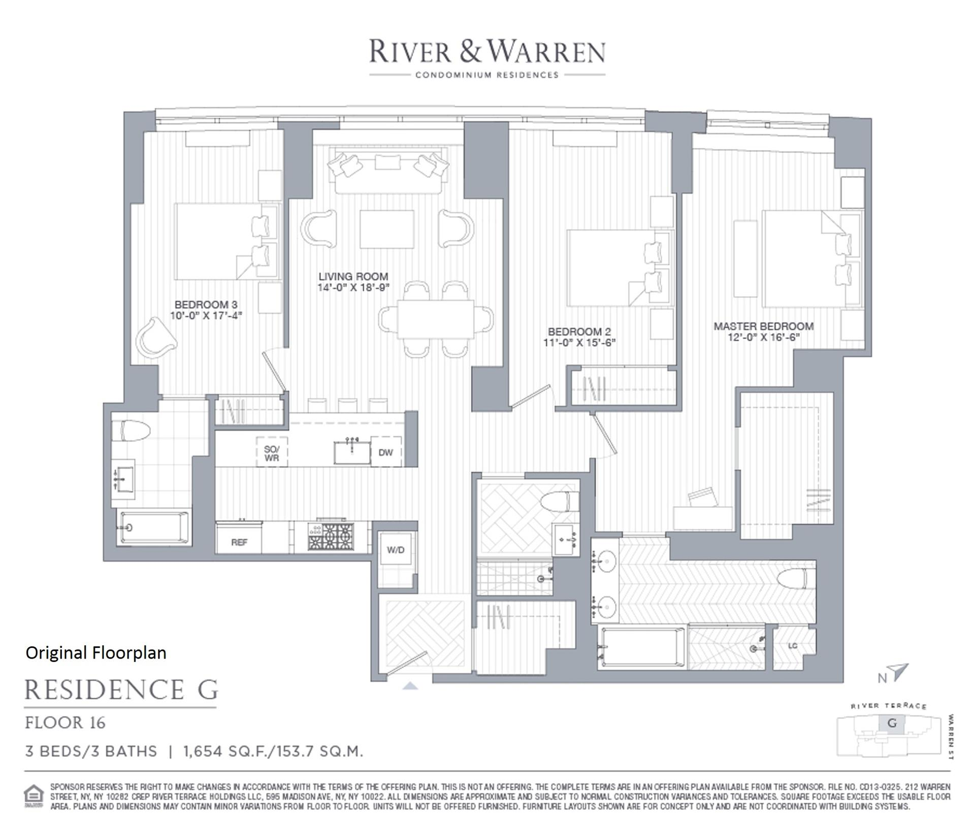 Floor plan of River & Warren, 212 Warren Street, 16G - Battery Park City, New York