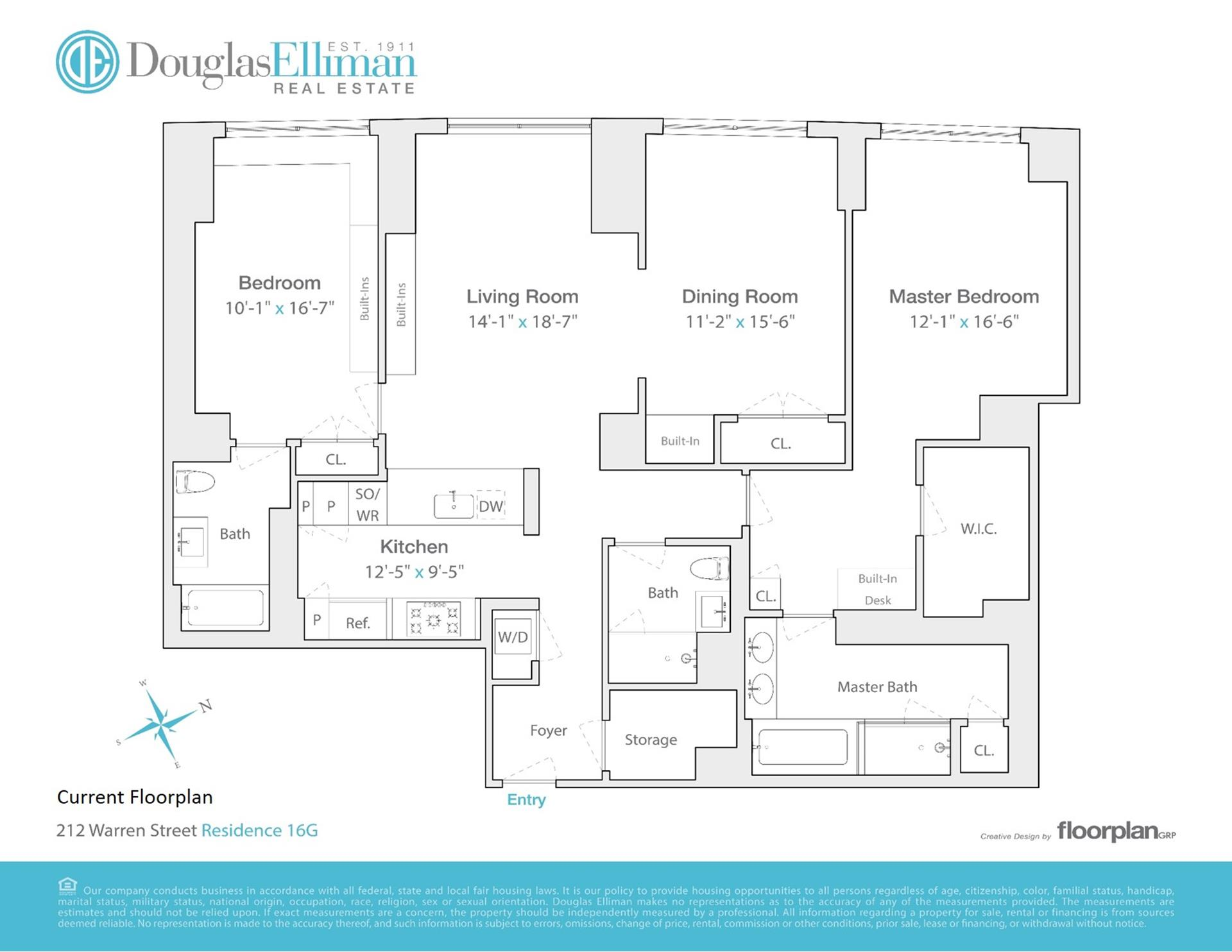 Floor plan of River & Warren, 212 Warren Street, 16G - Battery Park City, New York
