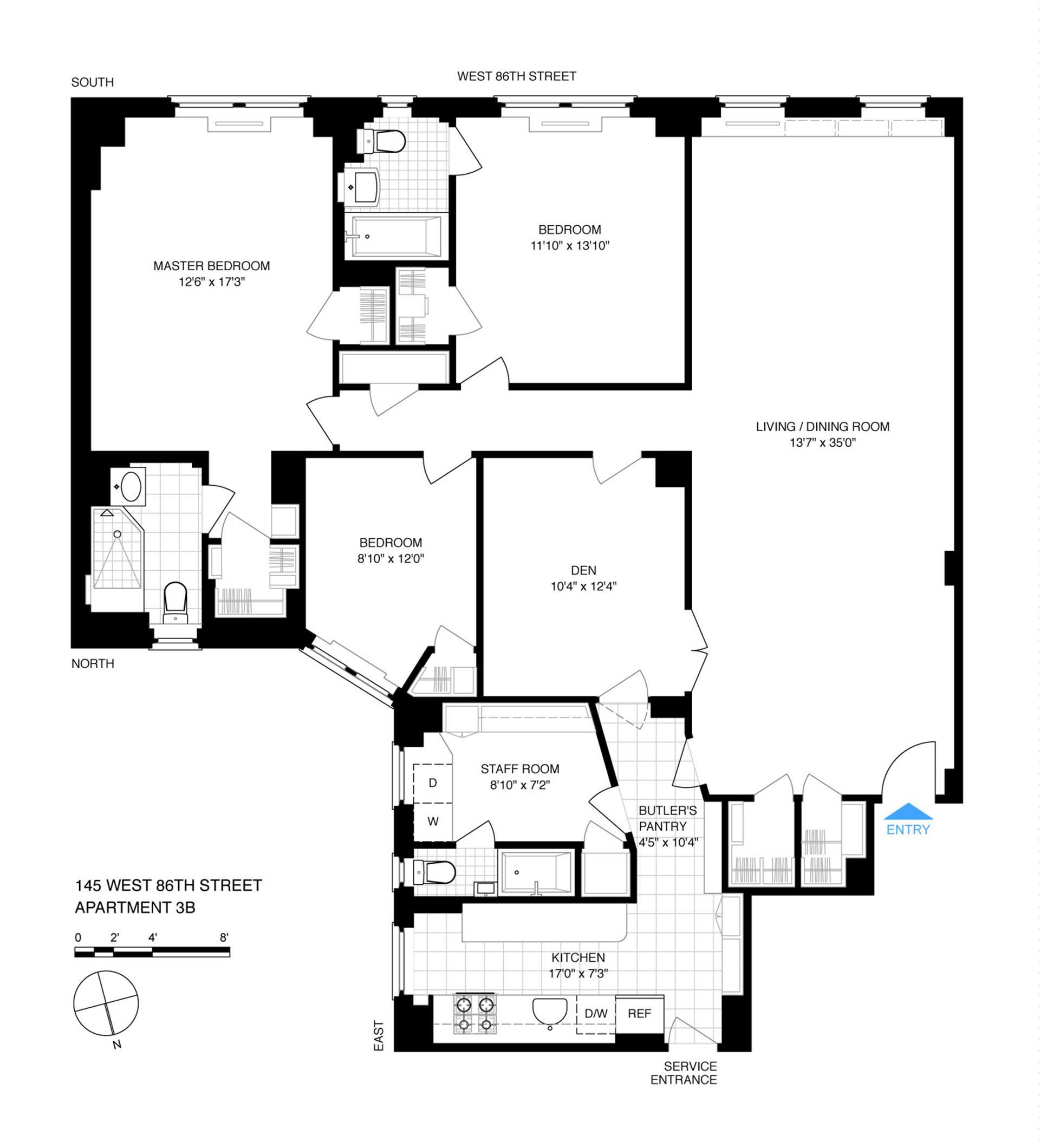 Floor plan of 145 West 86th St, 3B - Upper West Side, New York