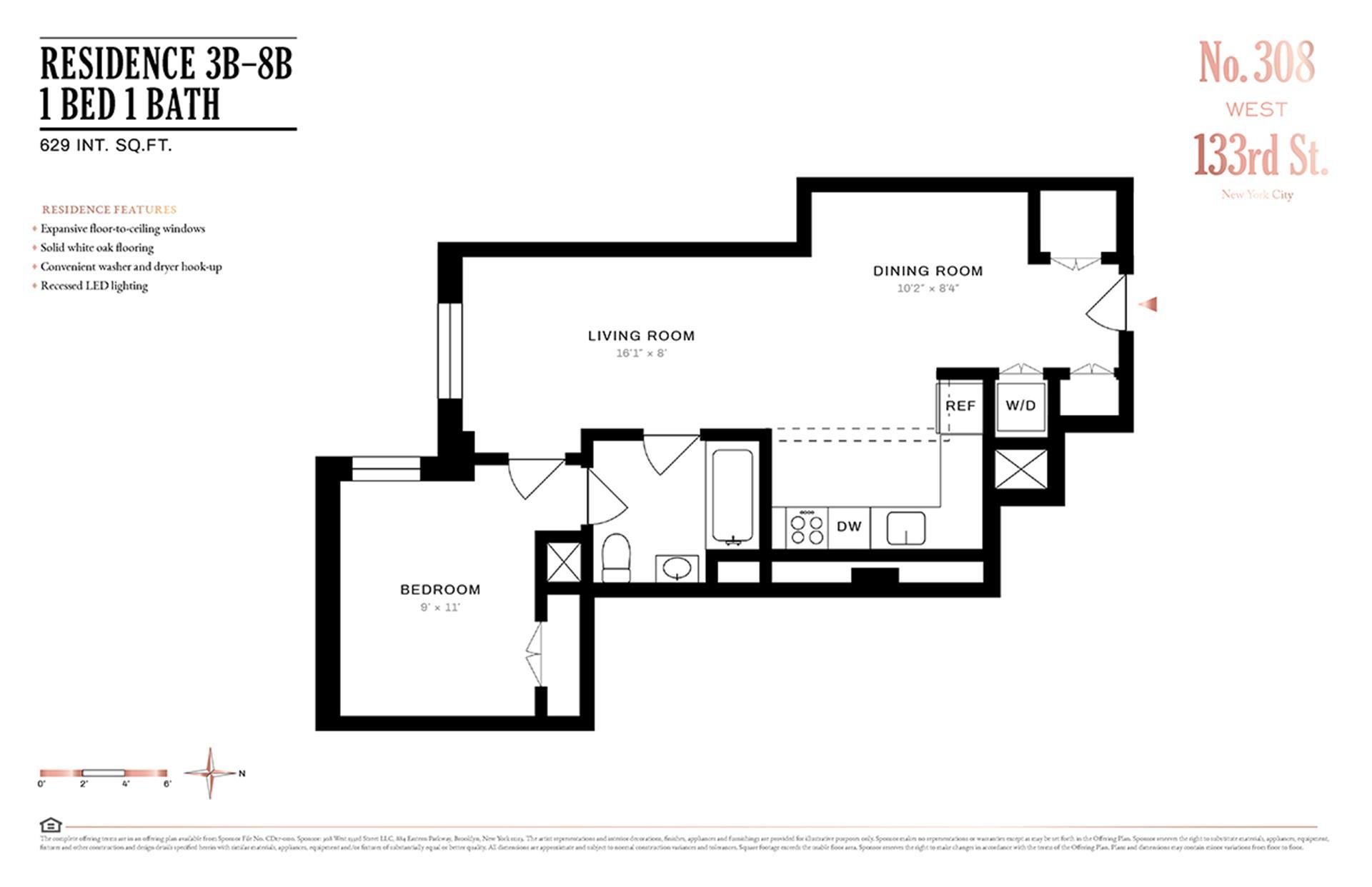 Floor plan of 308 West 133rd St, 6B - Harlem, New York
