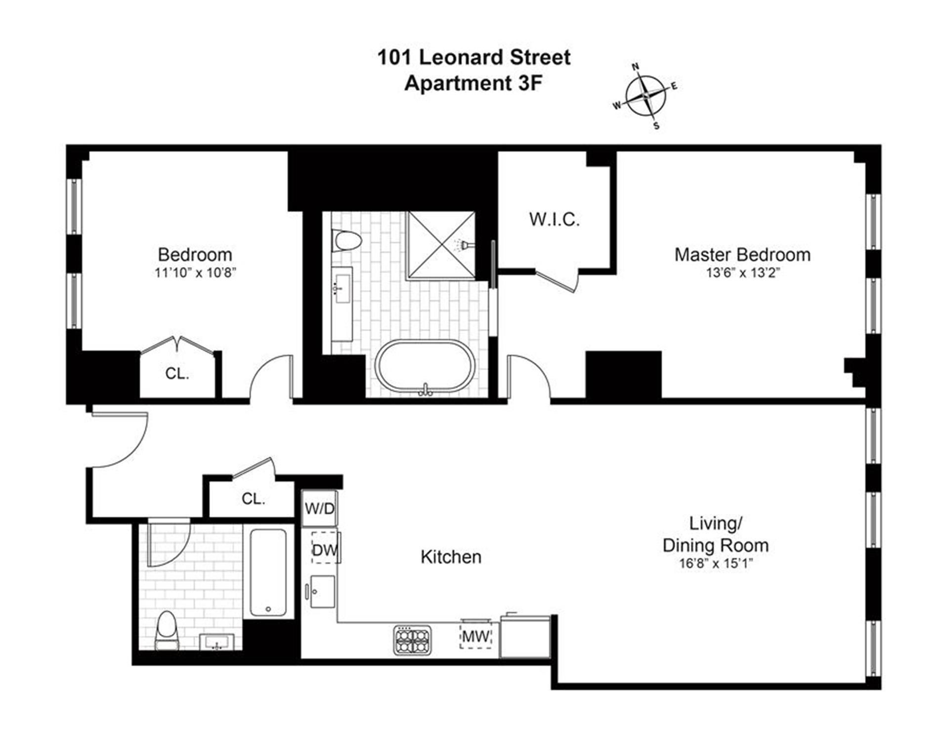 Floor plan of The Leonard, 101 Leonard St, 3F - TriBeCa, New York