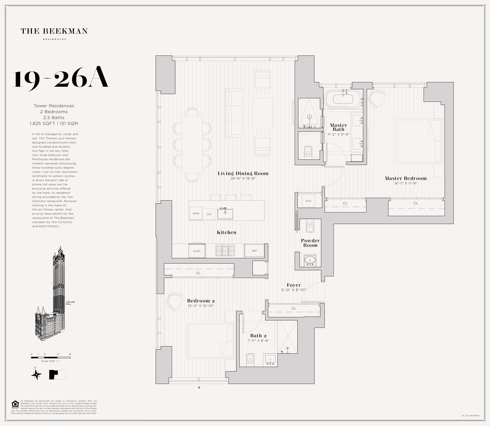 Floor plan of The Beekman Residences, 5 Beekman St, 23A - Financial District, New York