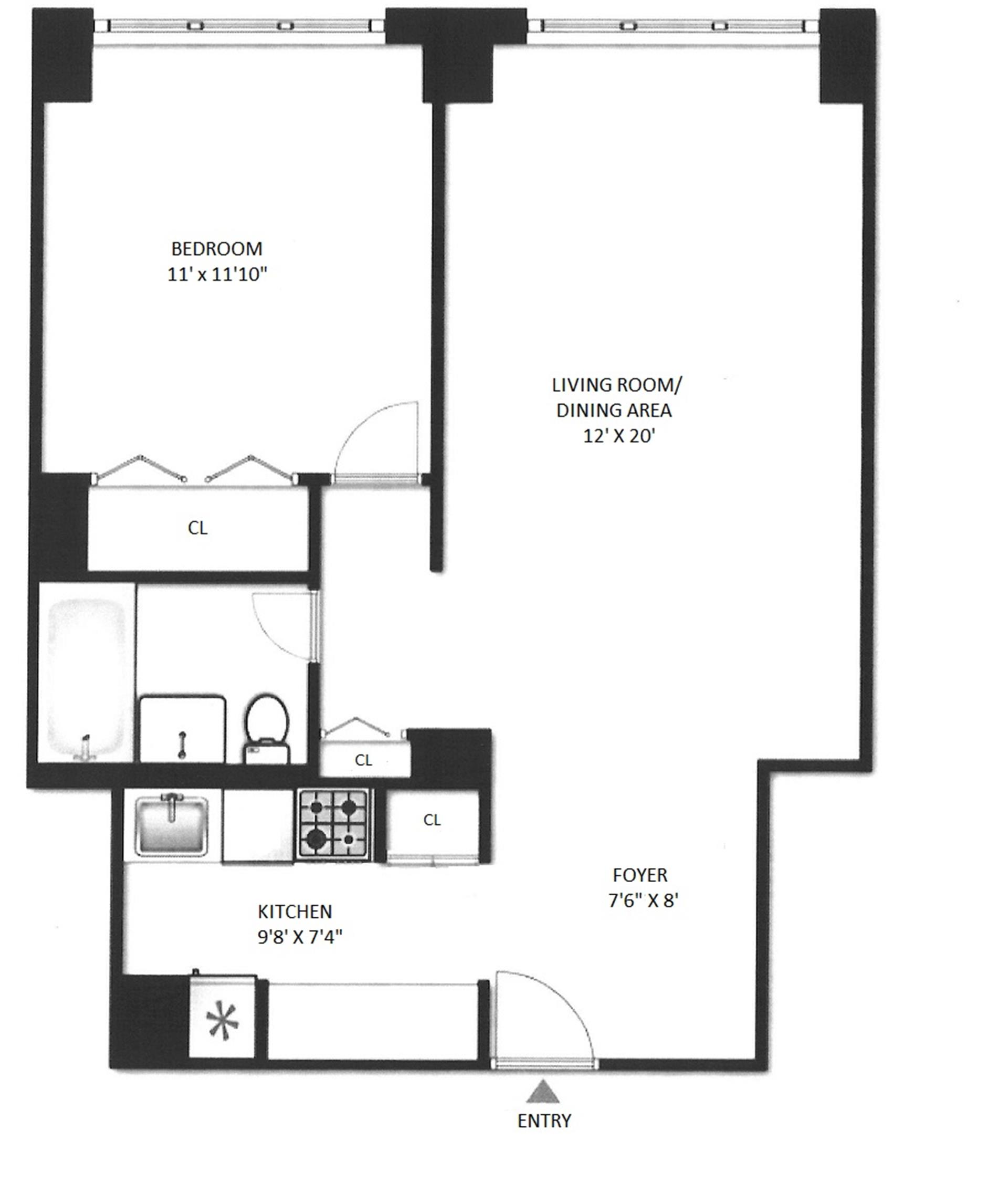 Floor plan of 201 East 17th St, 14E - Gramercy - Union Square, New York