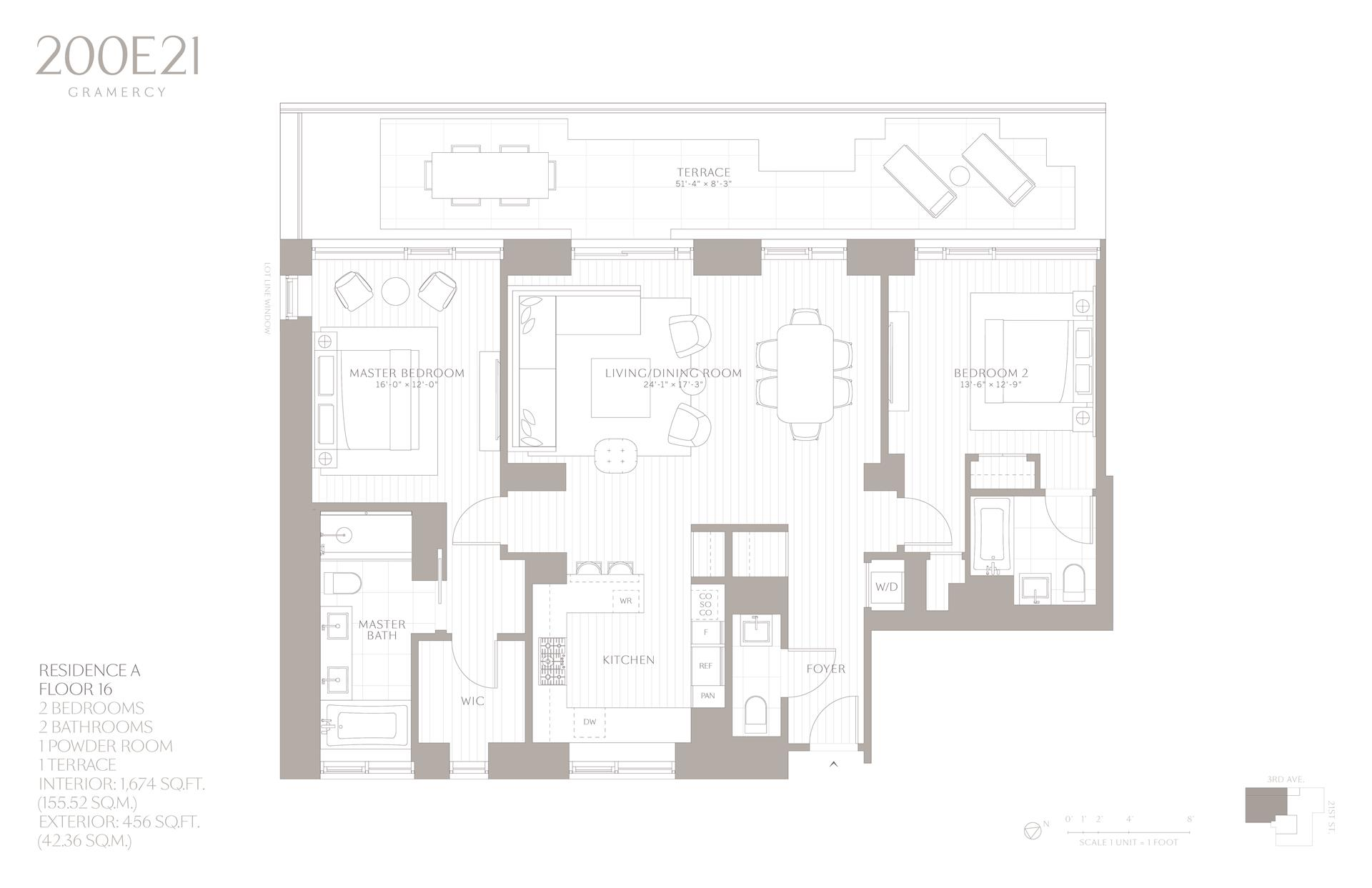 Floor plan of 200 East 21st St, 16A - Gramercy - Union Square, New York