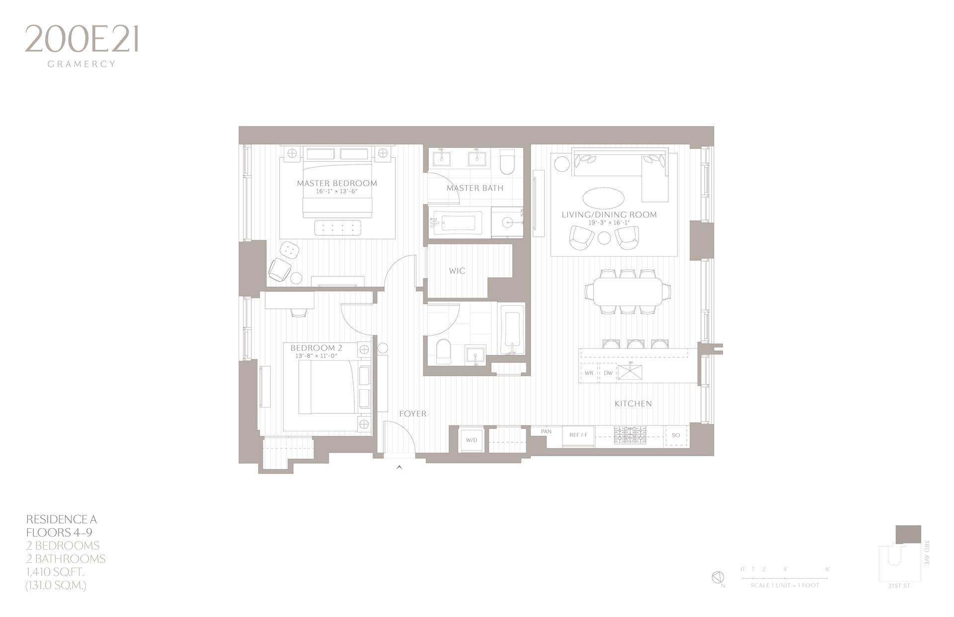 Floor plan of 200 East 21st Street, 4A - Gramercy - Union Square, New York