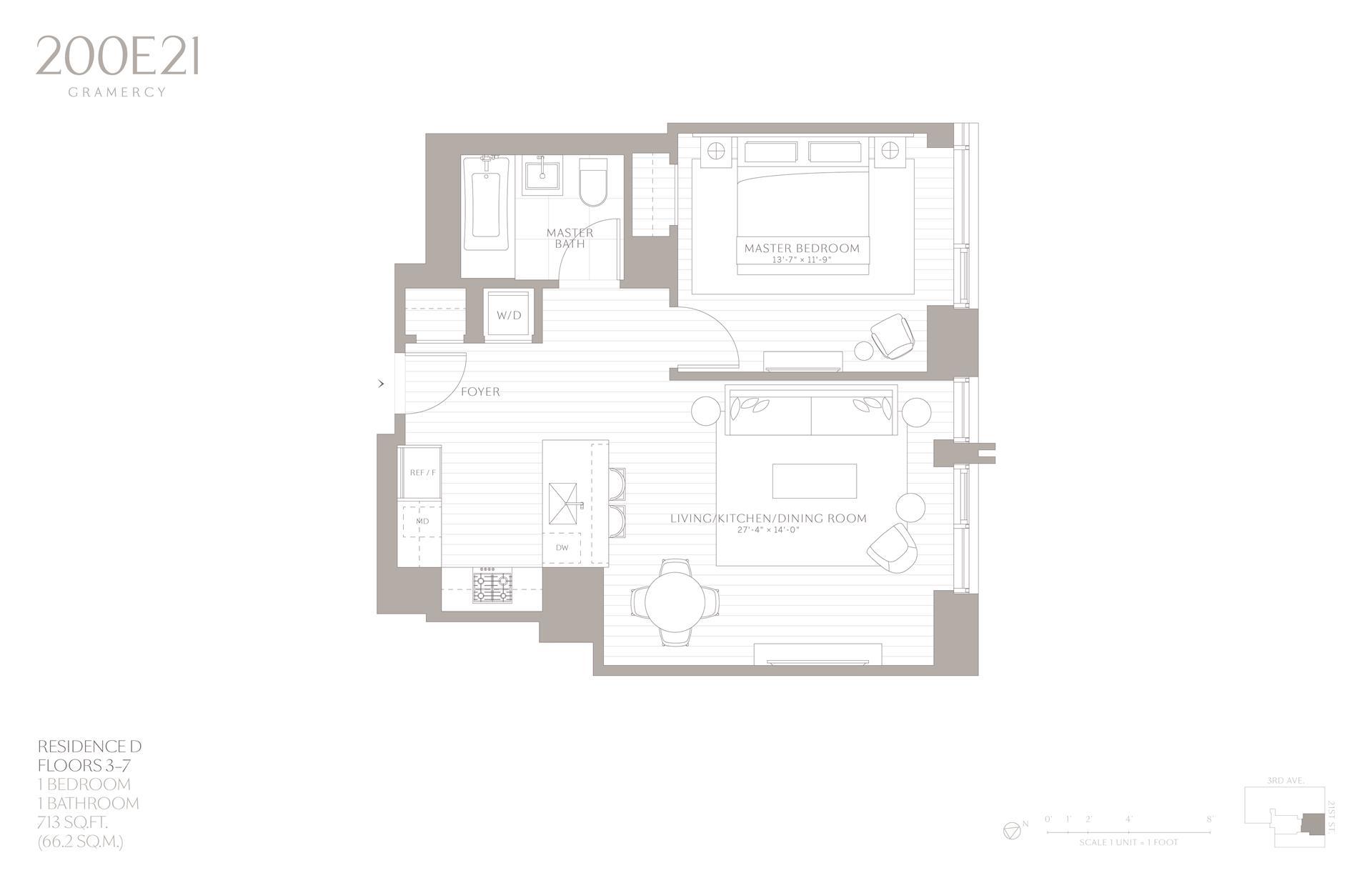 Floor plan of 200 East 21st Street, 3D - Gramercy - Union Square, New York