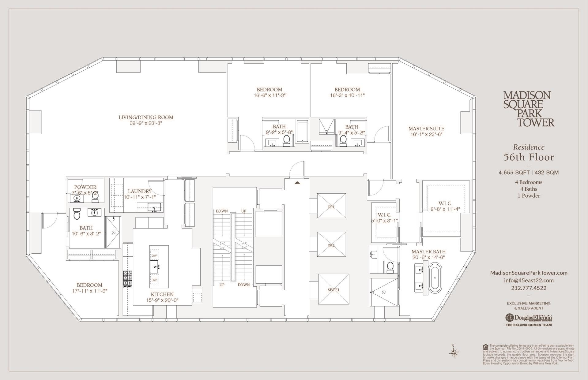 Floor plan of Madison Square Park Tower, 45 East 22nd Street, 56FL - Flatiron District, New York