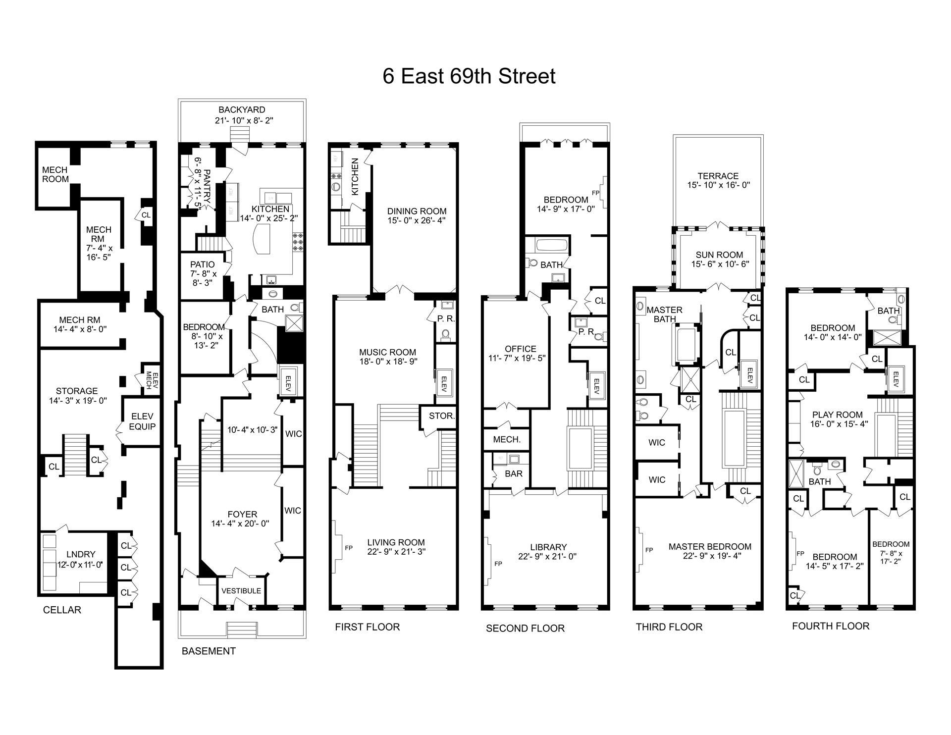 Floor plan of 6 East 69th St - Upper East Side, New York