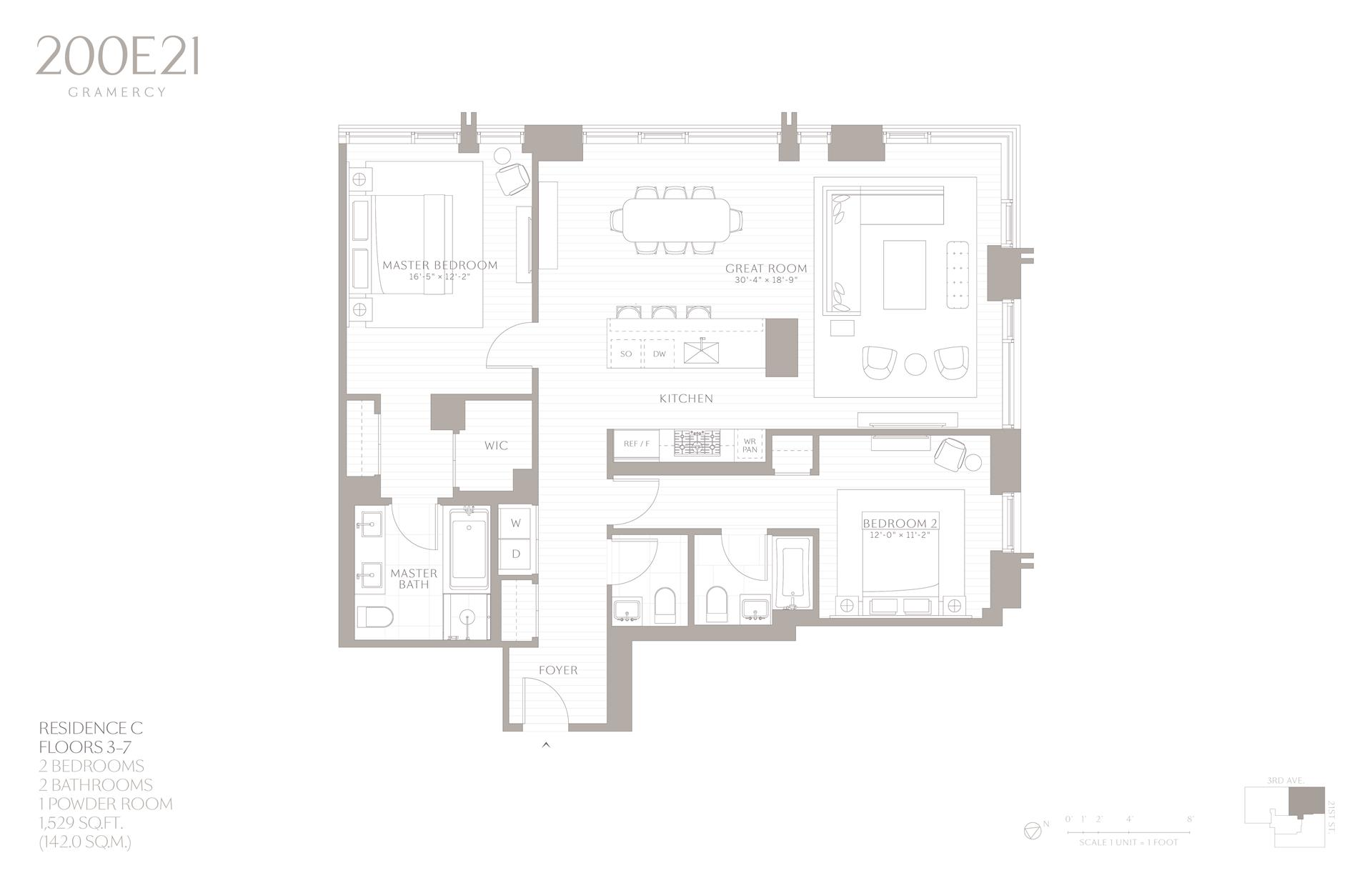 Floor plan of 200 East 21st Street, 7C - Gramercy - Union Square, New York