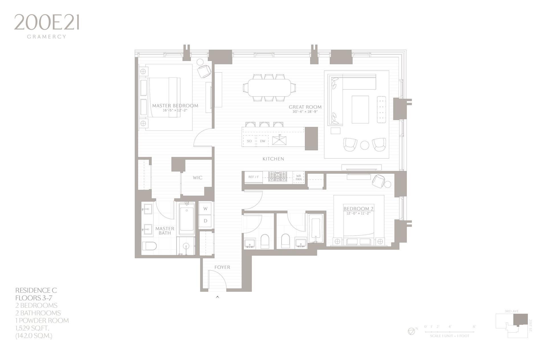 Floor plan of 200 East 21st Street, 6C - Gramercy - Union Square, New York