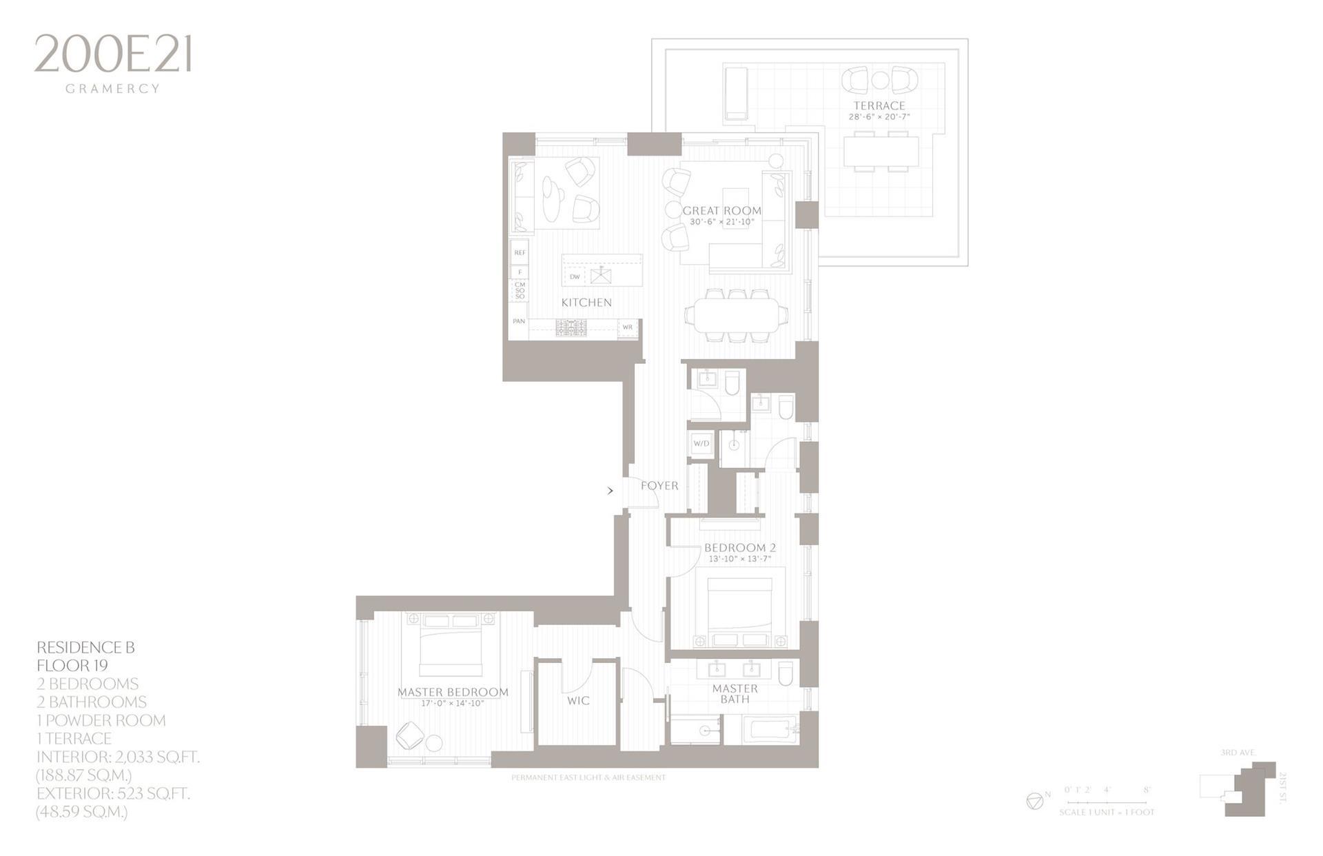 Floor plan of 200 East 21st Street, 19B - Gramercy - Union Square, New York