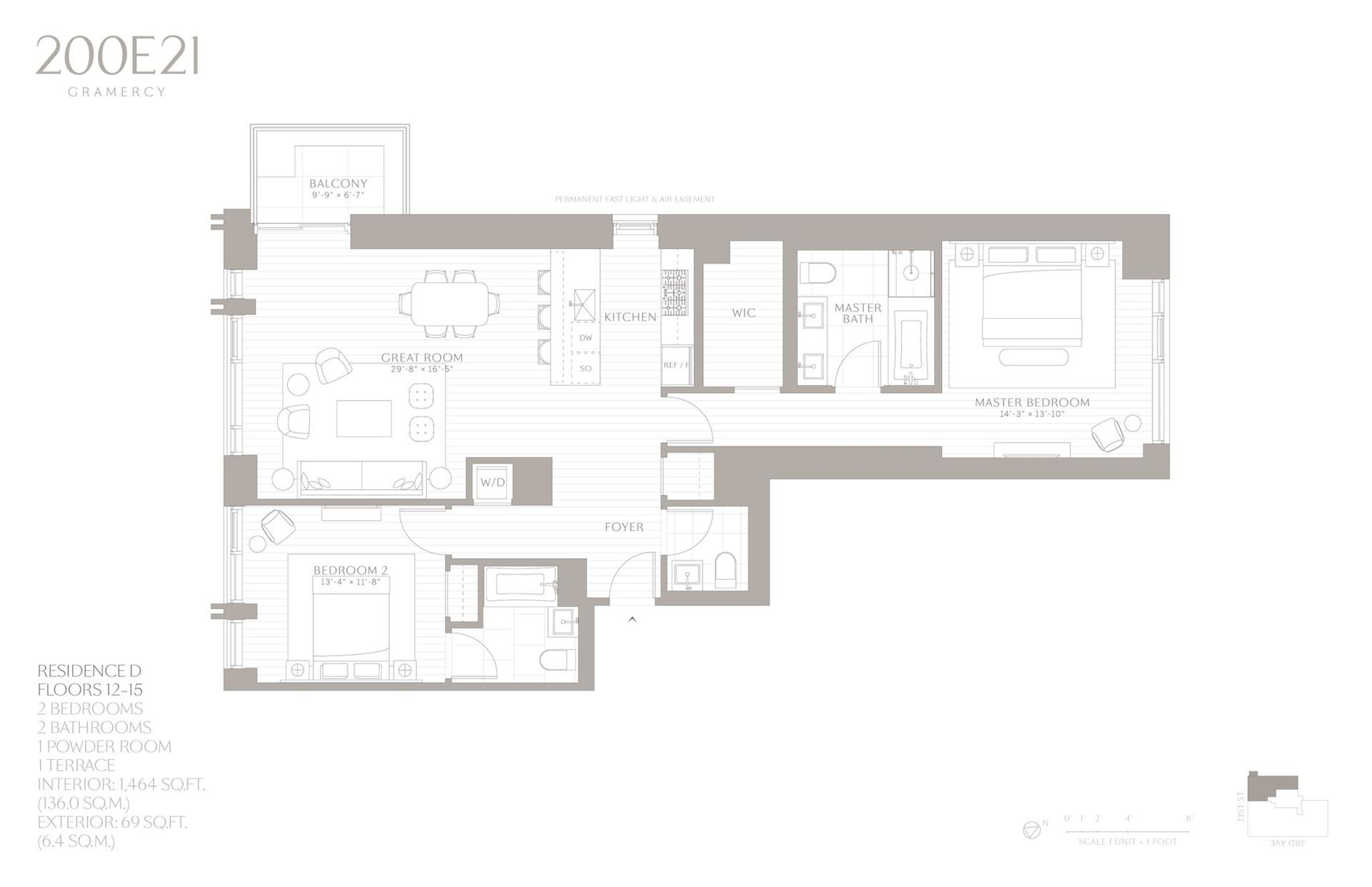 Floor plan of 200 East 21st Street, 12D - Gramercy - Union Square, New York