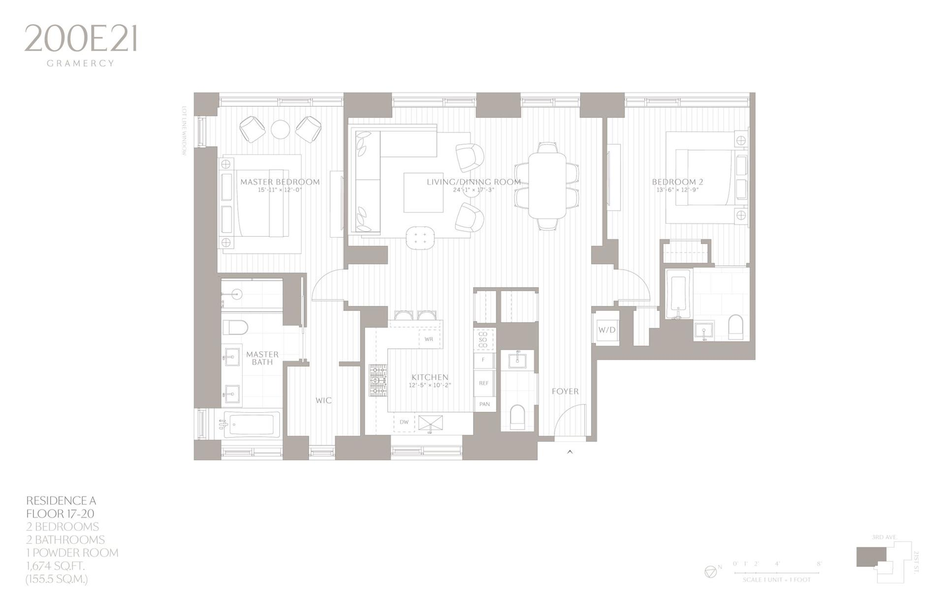 Floor plan of 200 East 21st Street, 17A - Gramercy - Union Square, New York