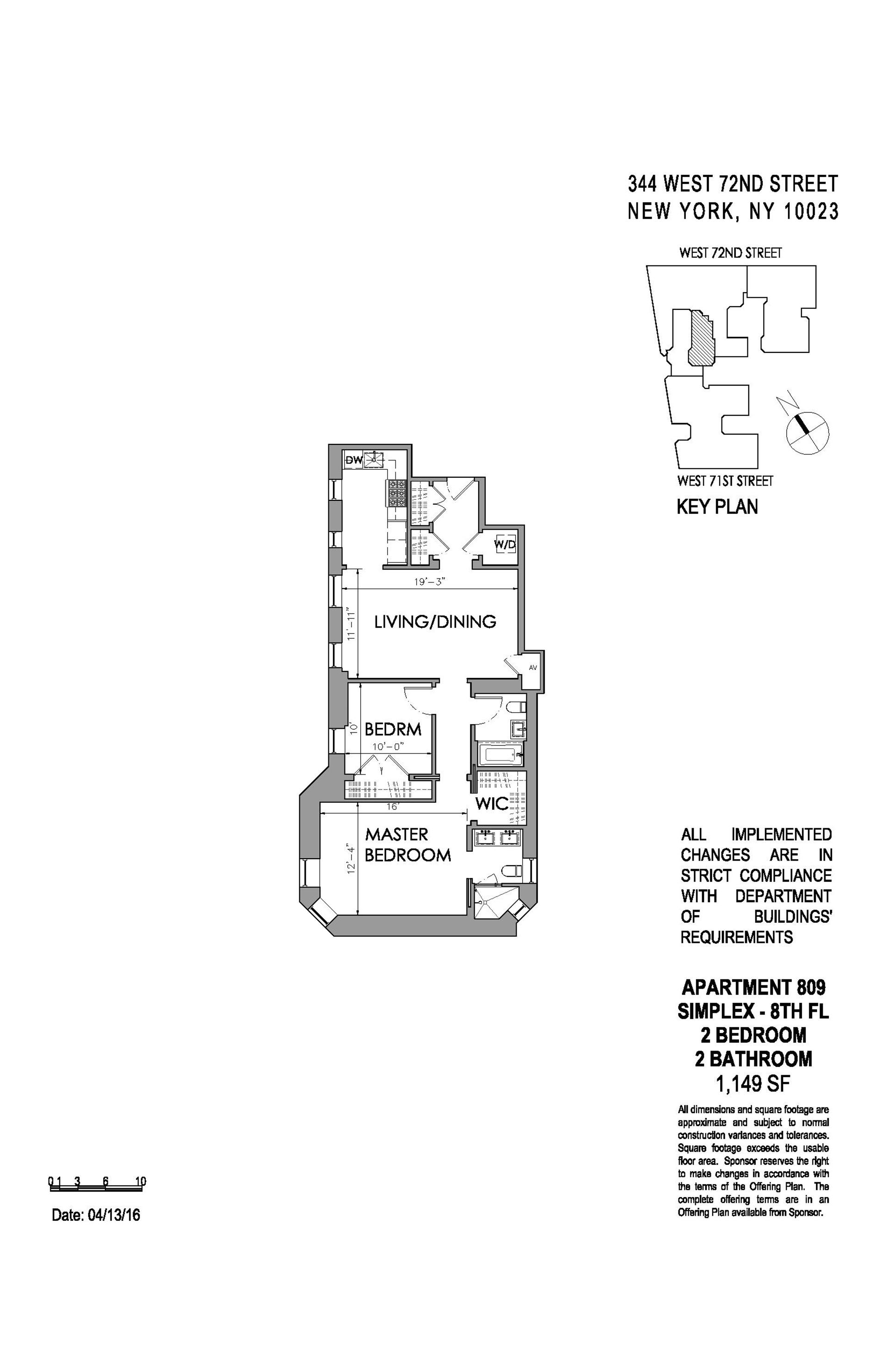 Floor plan of The Chatsworth, 344 West 72nd St, 809 - Upper West Side, New York
