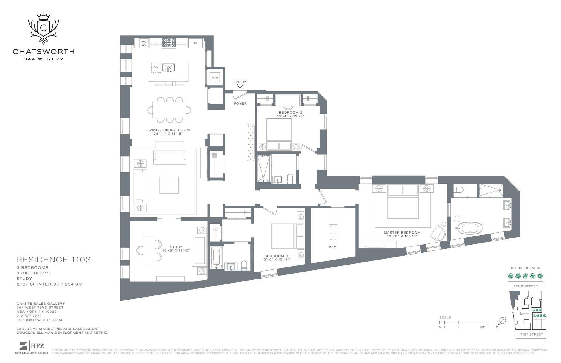 Floor plan of The Chatsworth, 344 West 72nd St, 1103 - Upper West Side, New York
