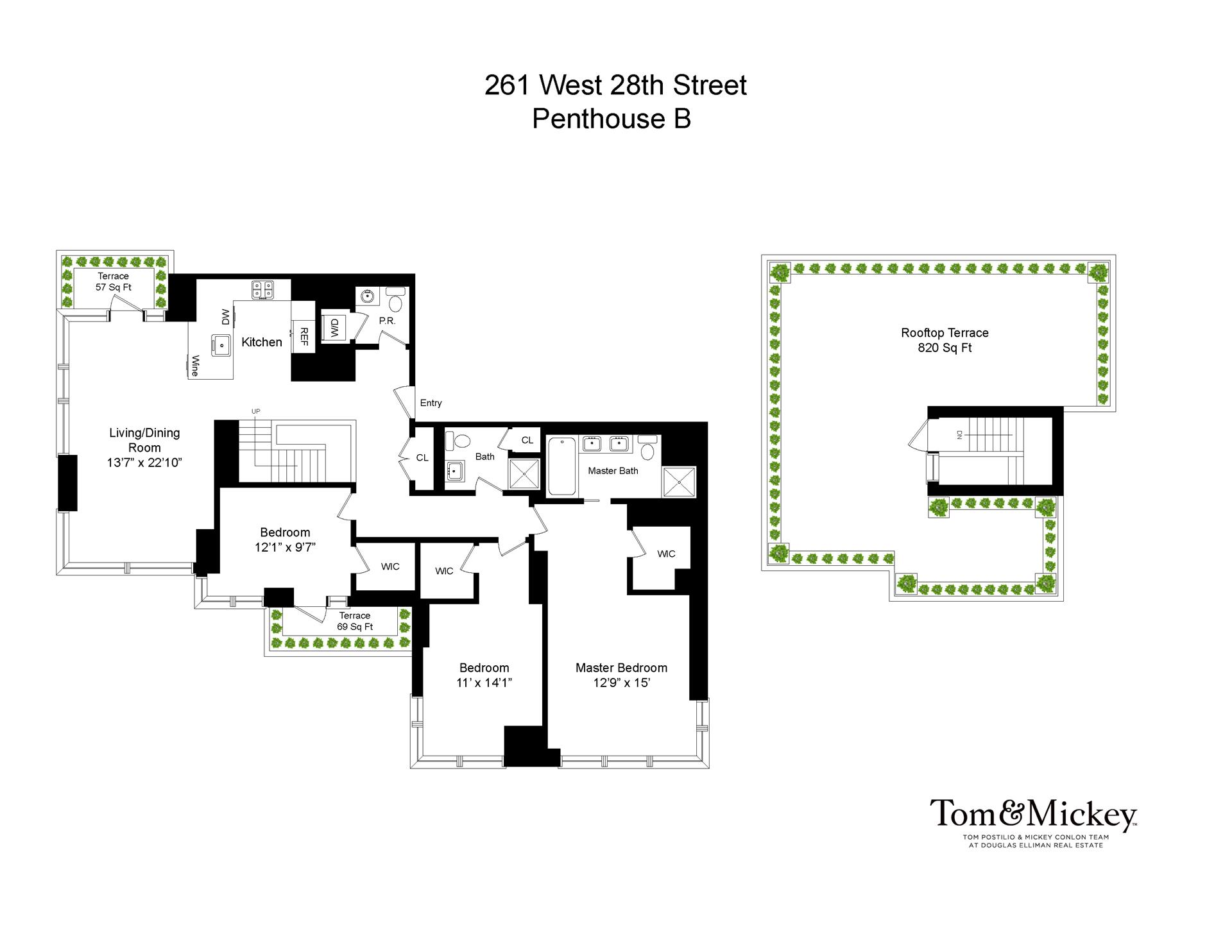 Floor plan of 261 West 28th St, PHB - Chelsea, New York