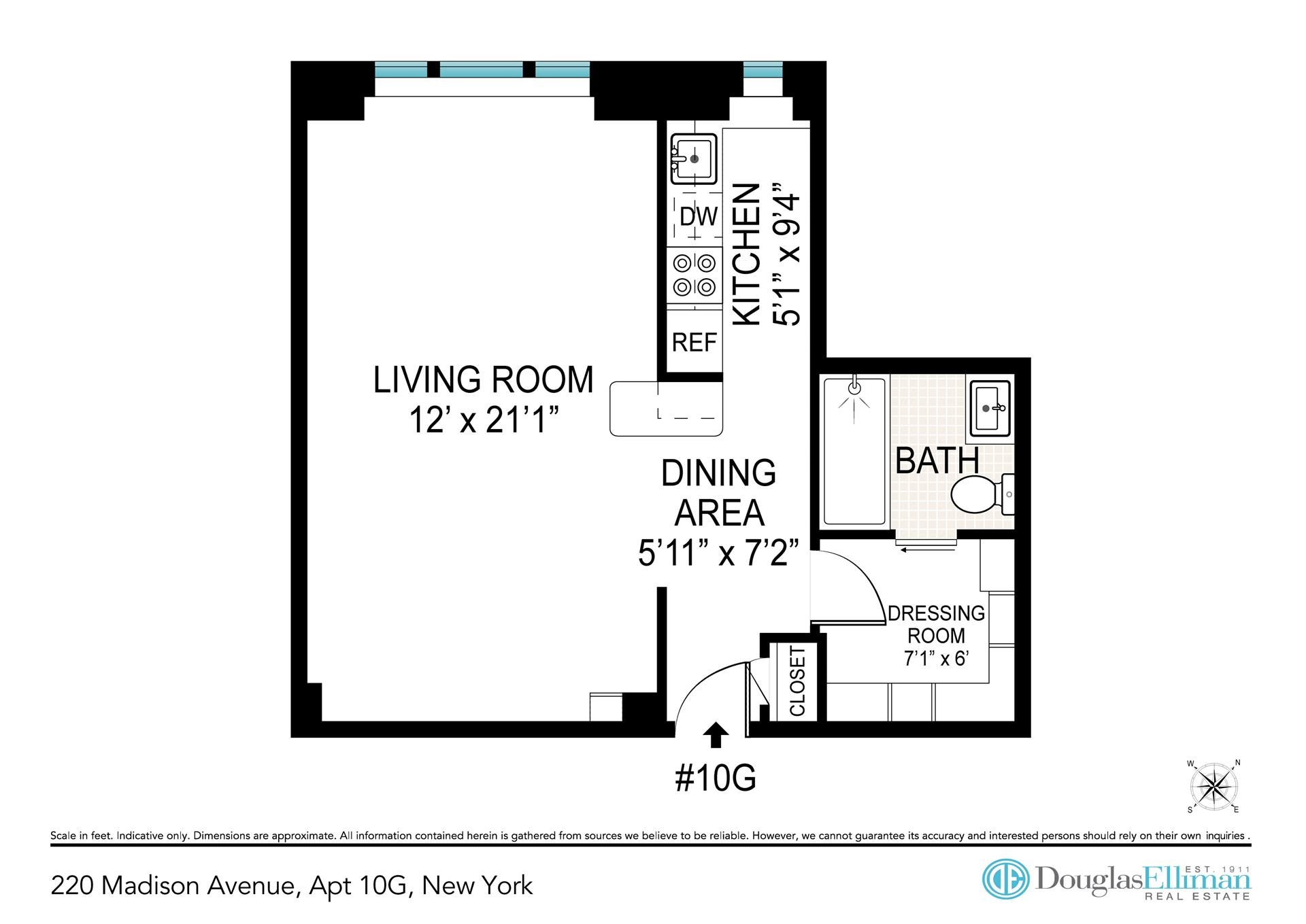 Floor plan of 220 Madison Avenue, 10G - Murray Hill, New York