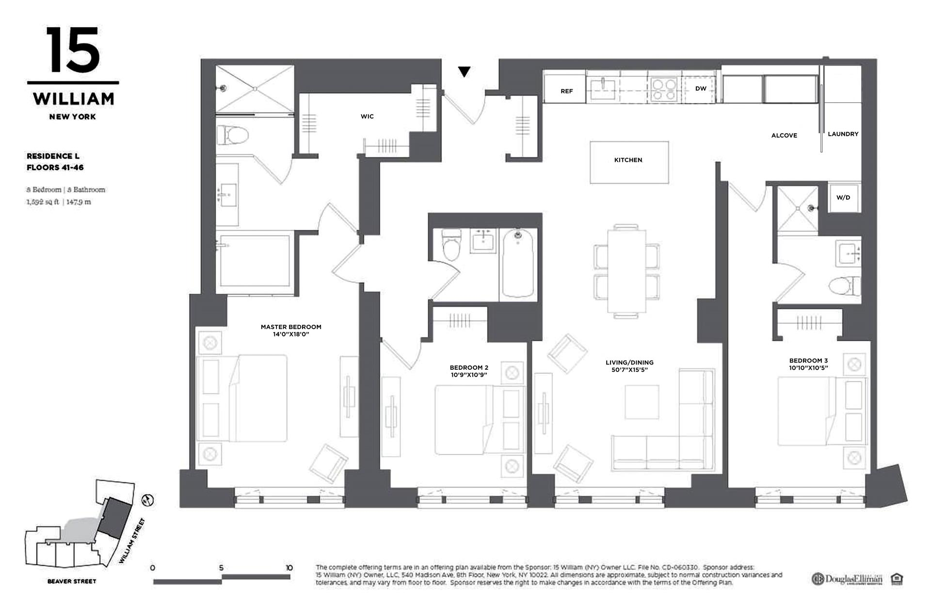 Floor plan of 15 William, 15 William St, 41L - Financial District, New York