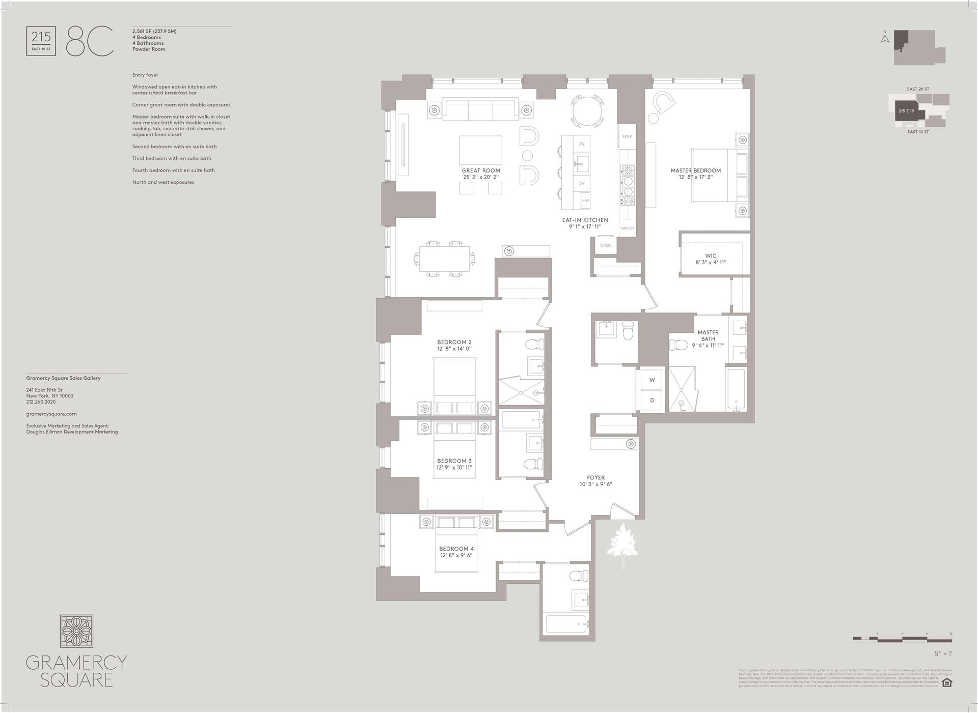 Floor plan of Gramercy Square, 215 East 19th St, 8C - Gramercy - Union Square, New York