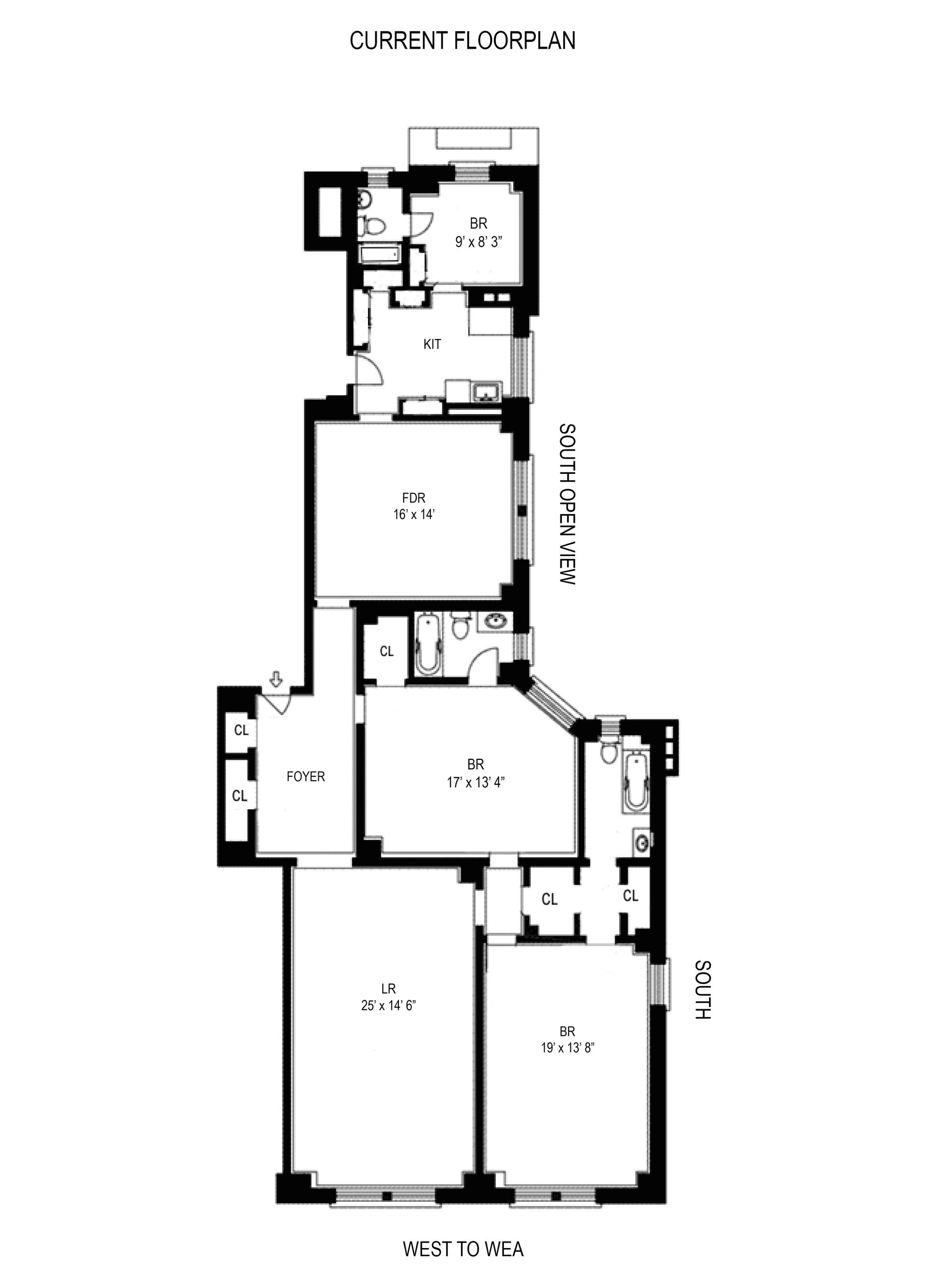 Floor plan of 290 West End Avenue, 14D - Upper West Side, New York