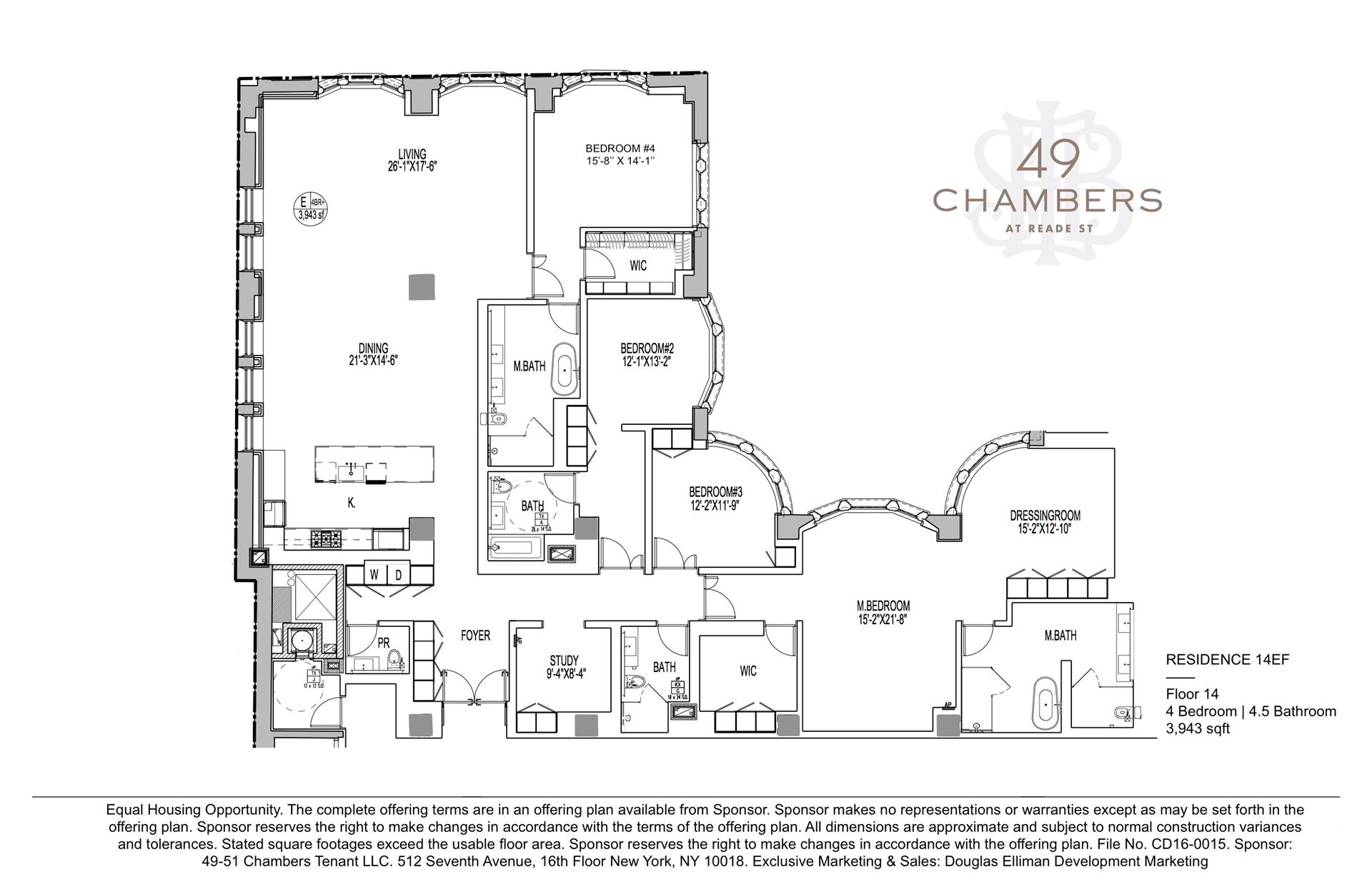 Floor plan of 49 Chambers St, 14EF - TriBeCa, New York