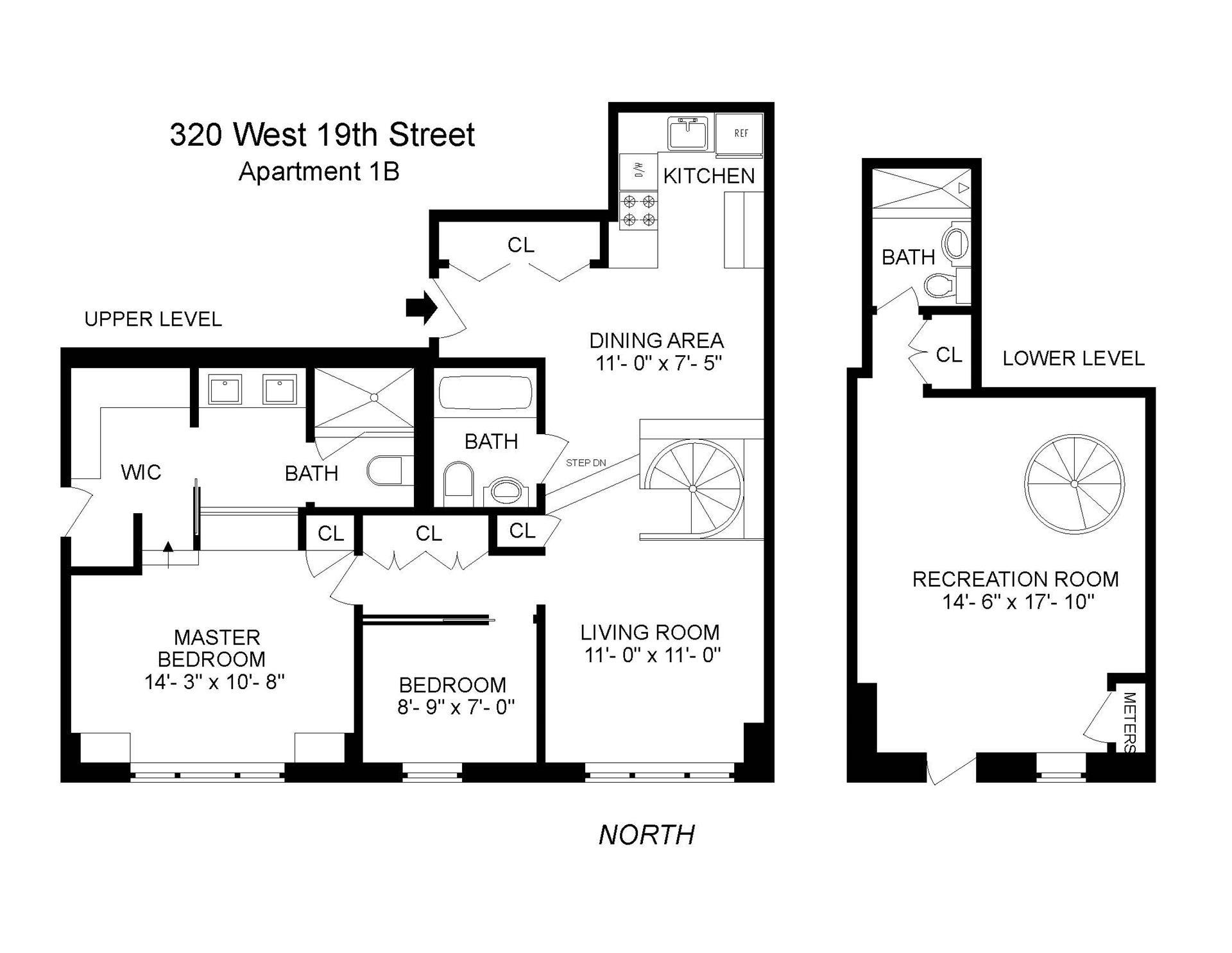 Floor plan of 320 West 19th St, 1B - Chelsea, New York