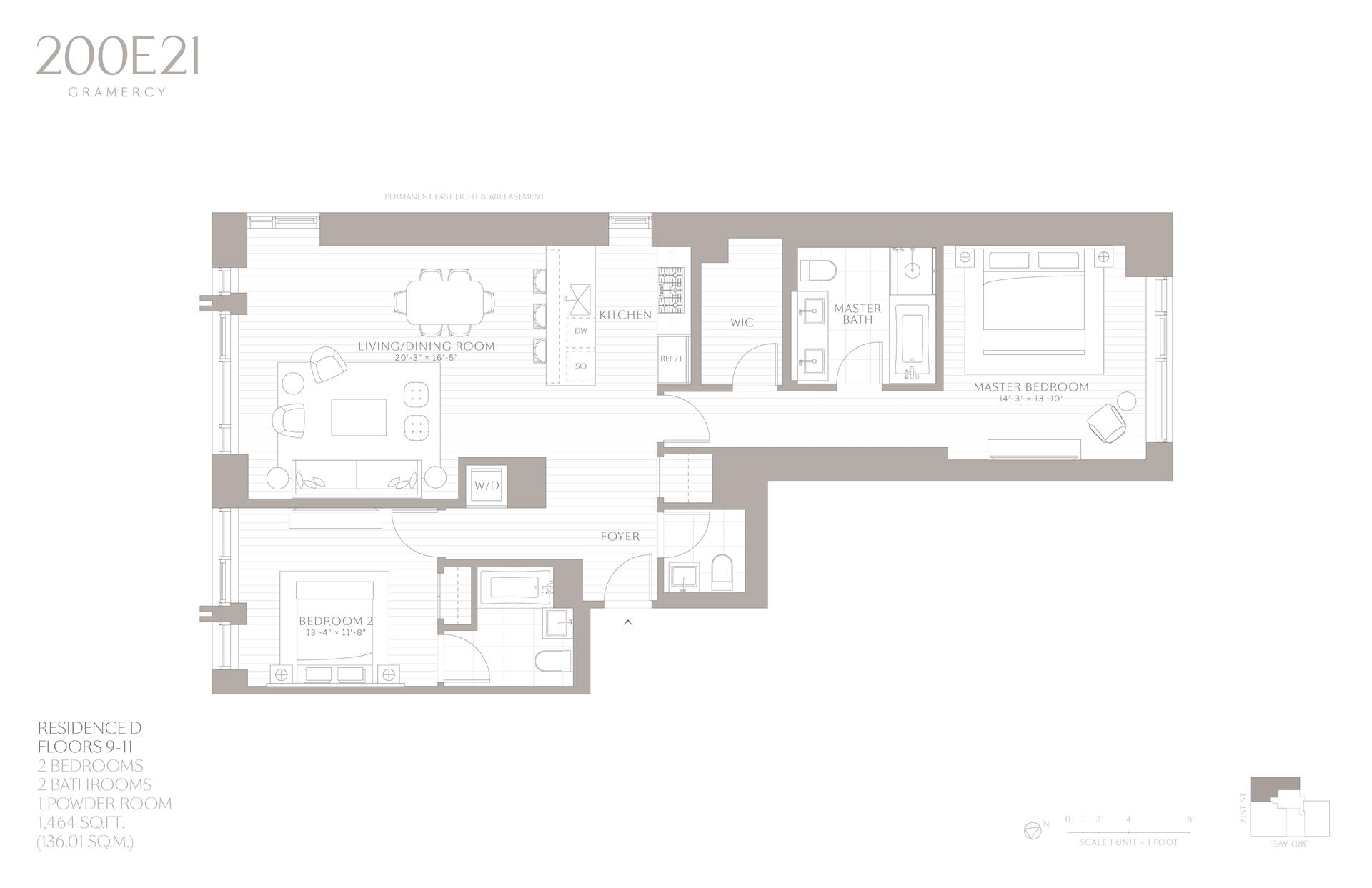 Floor plan of 200 East 21st Street, 11D - Gramercy - Union Square, New York