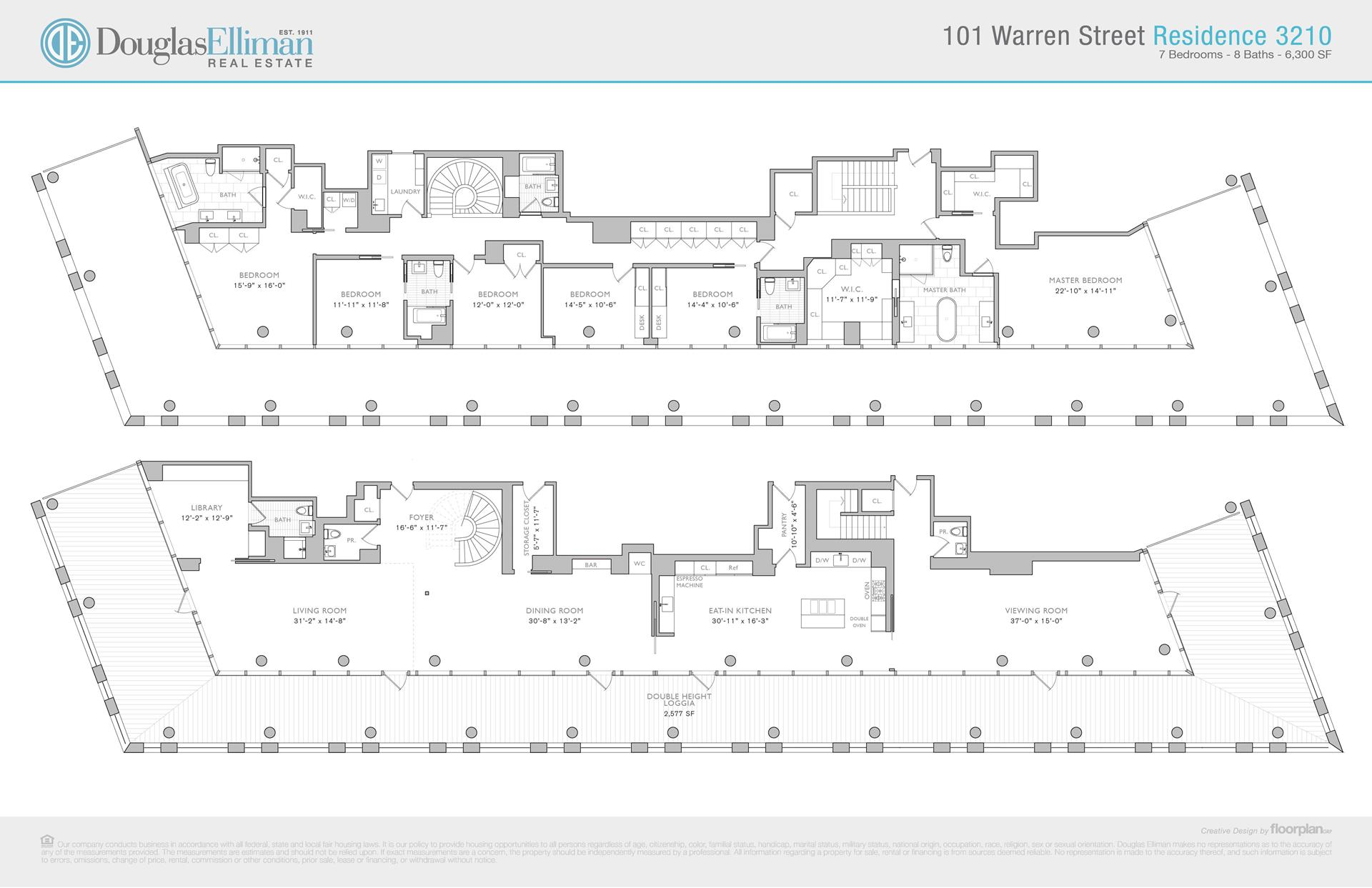 Floor plan of 101 Warren St, 3210 - TriBeCa, New York