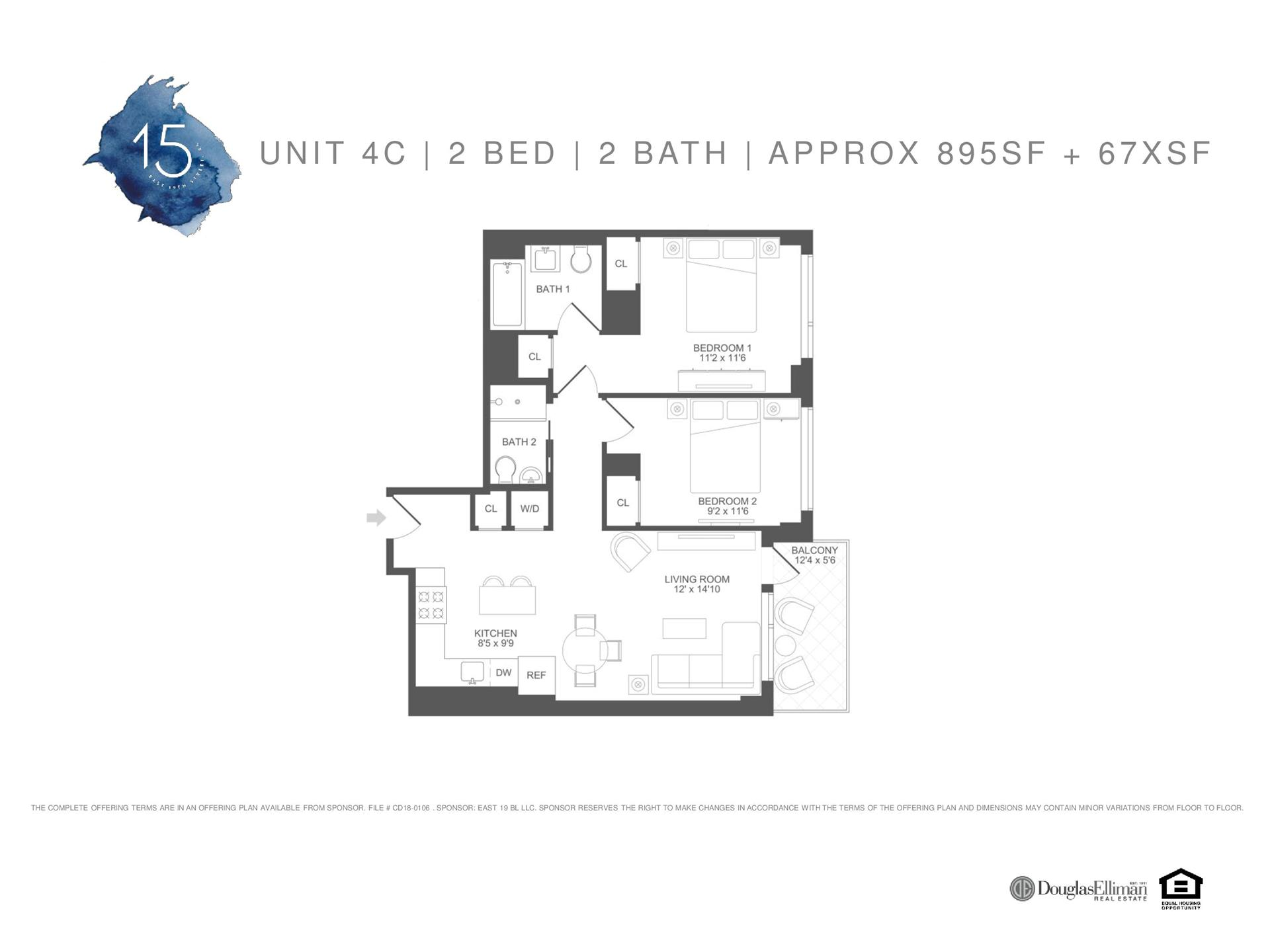 Floor plan of 15 East 19th Street, 4C - Prospect Park South, New York