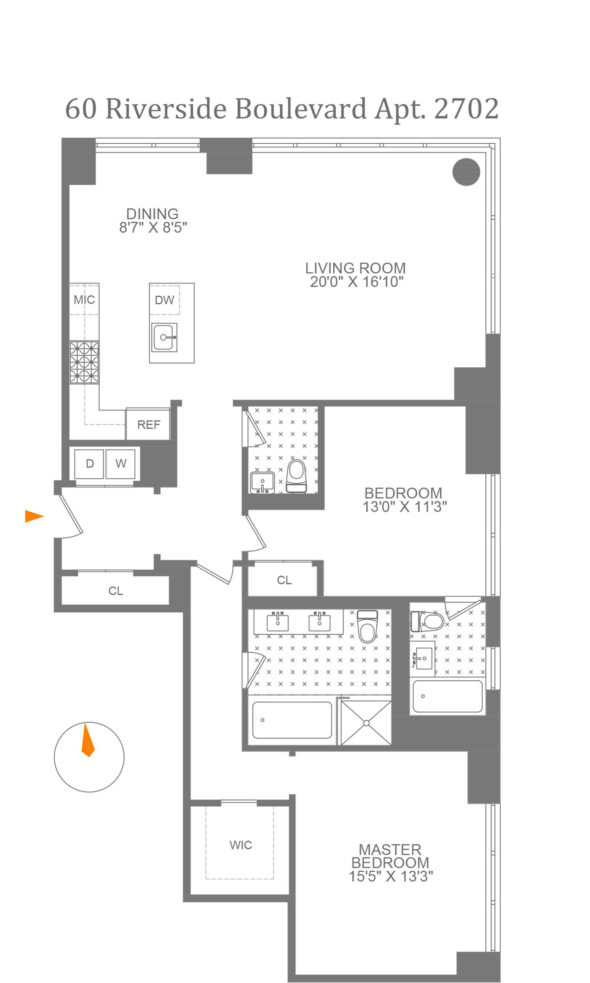 Floor plan of 60 Riverside Boulevard, 2702 - Lincoln Square, New York