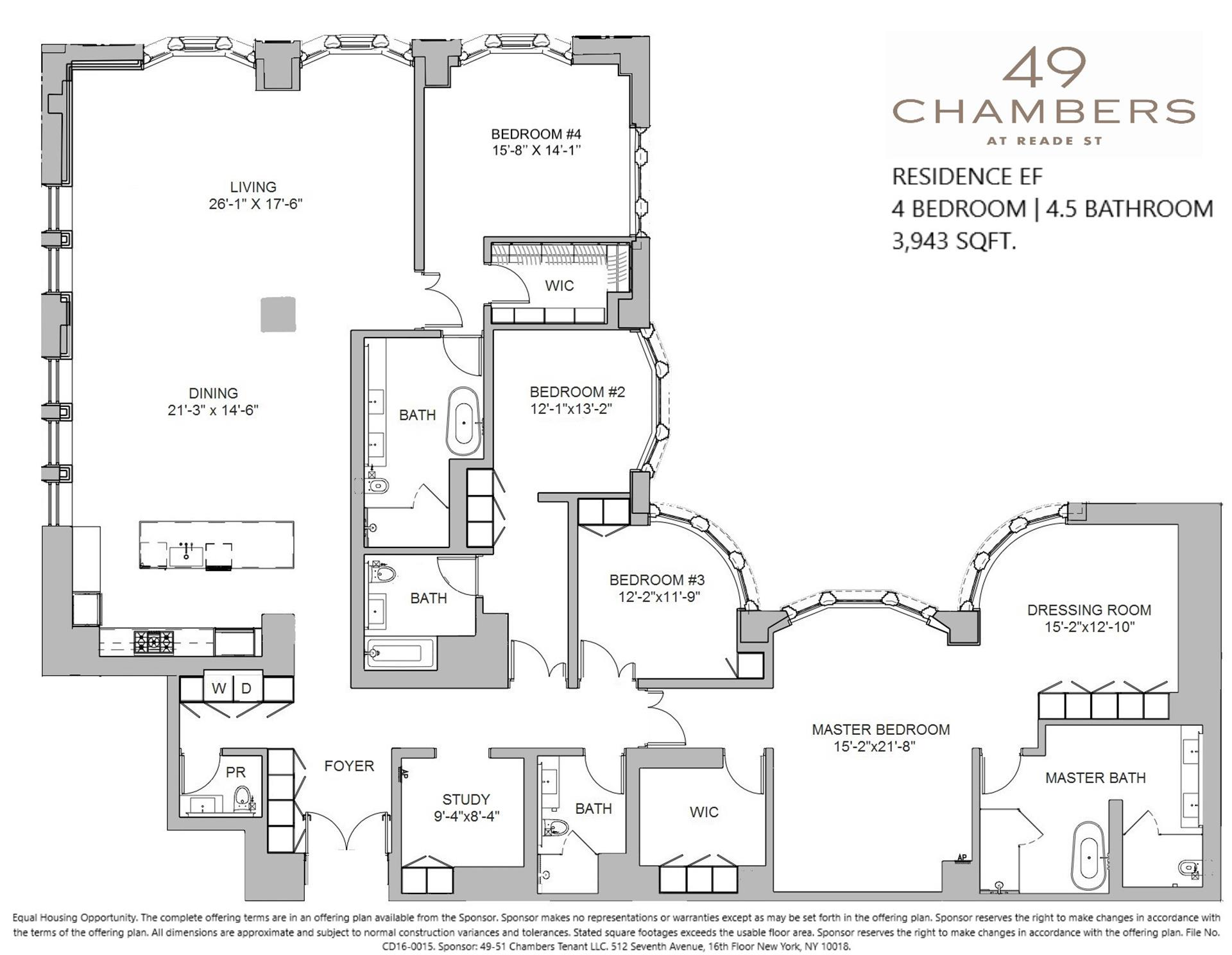 Floor plan of 49 Chambers St, 9EF - TriBeCa, New York