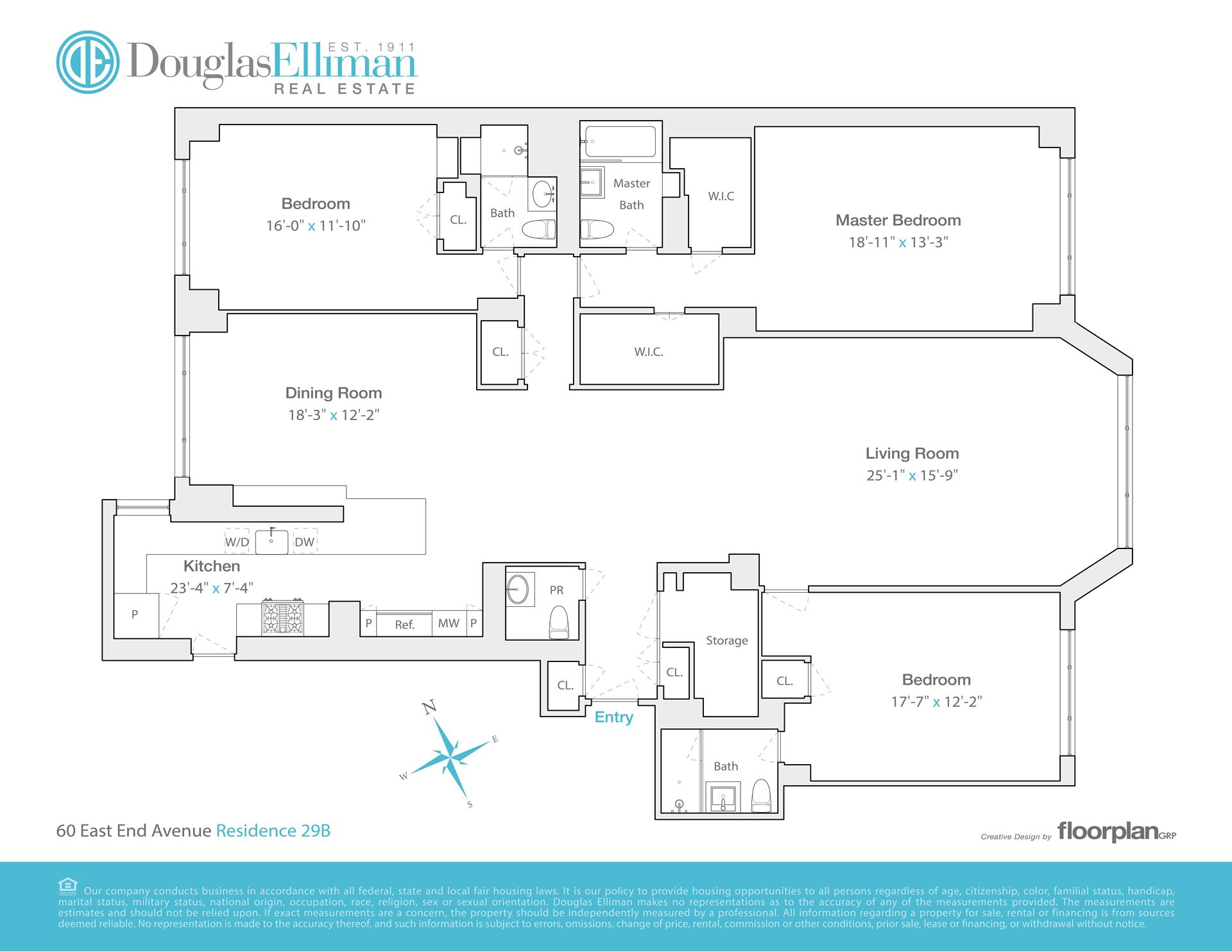 Floor plan of 60 East End Avenue, 29B - Upper East Side, New York