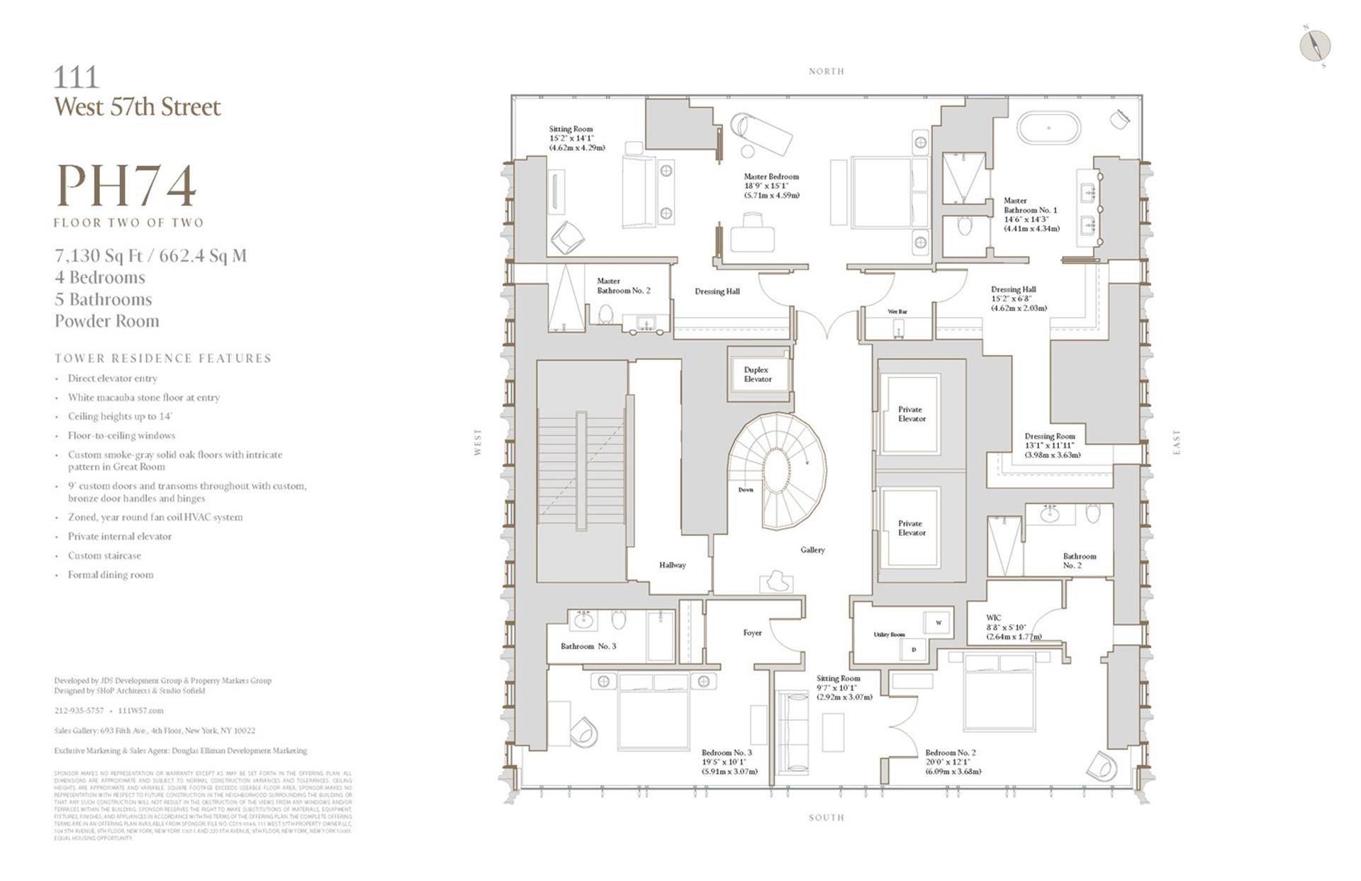 Floor plan of 111 West 57th St, PH74 - Central Park South, New York