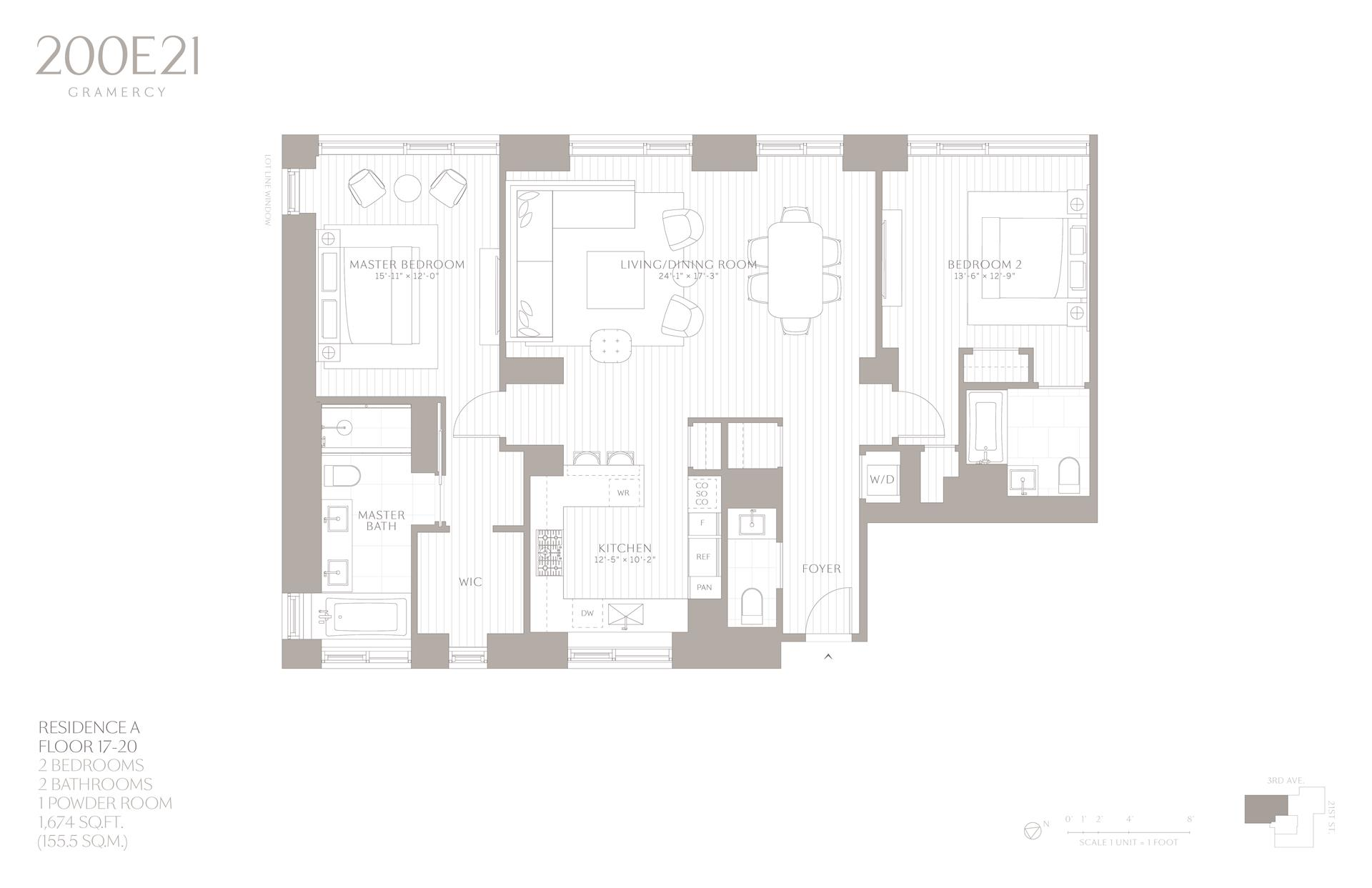 Floor plan of 200 East 21st St, 18A - Gramercy - Union Square, New York