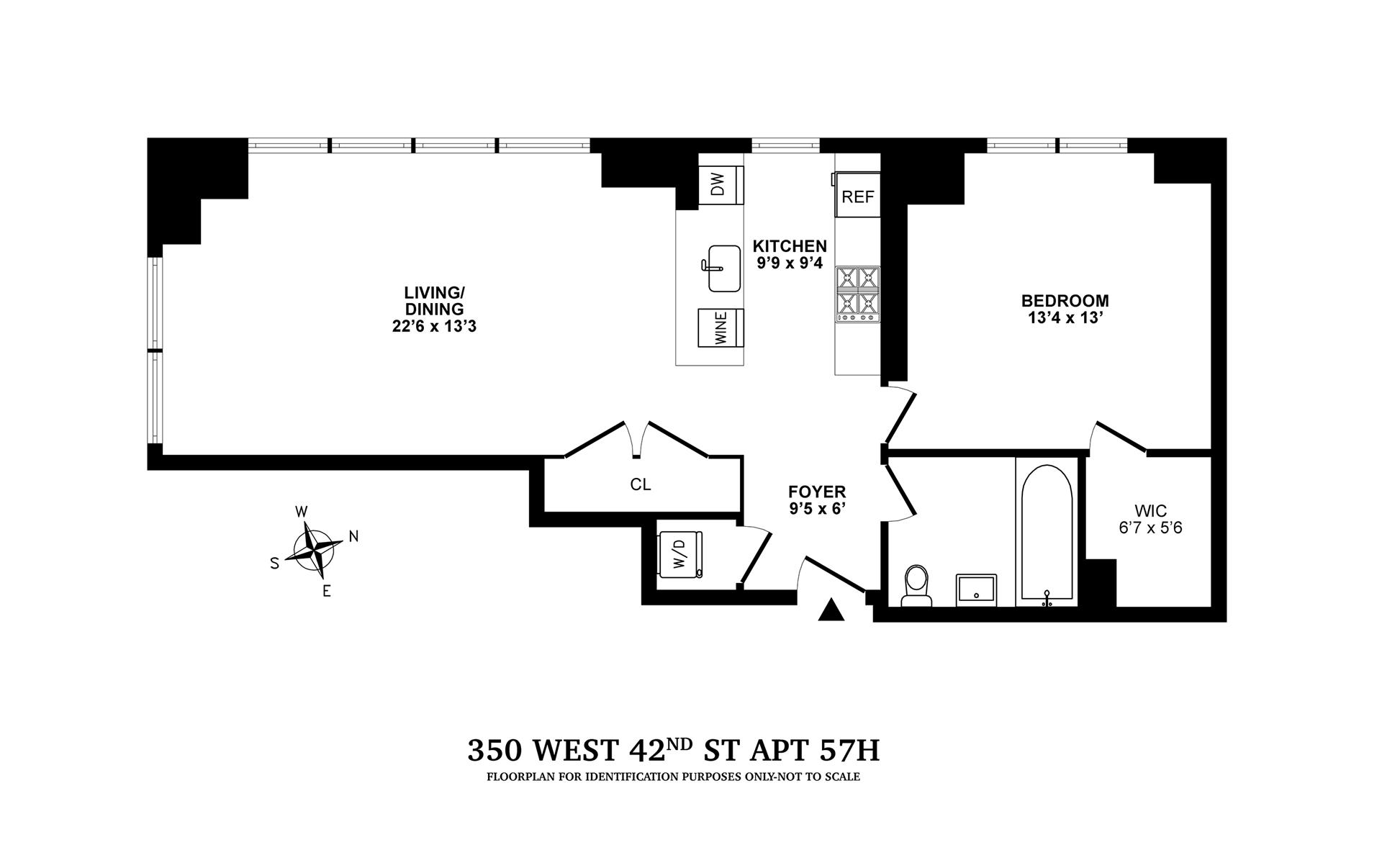 Floor plan of 350 West 42nd St, 57H - Clinton, New York