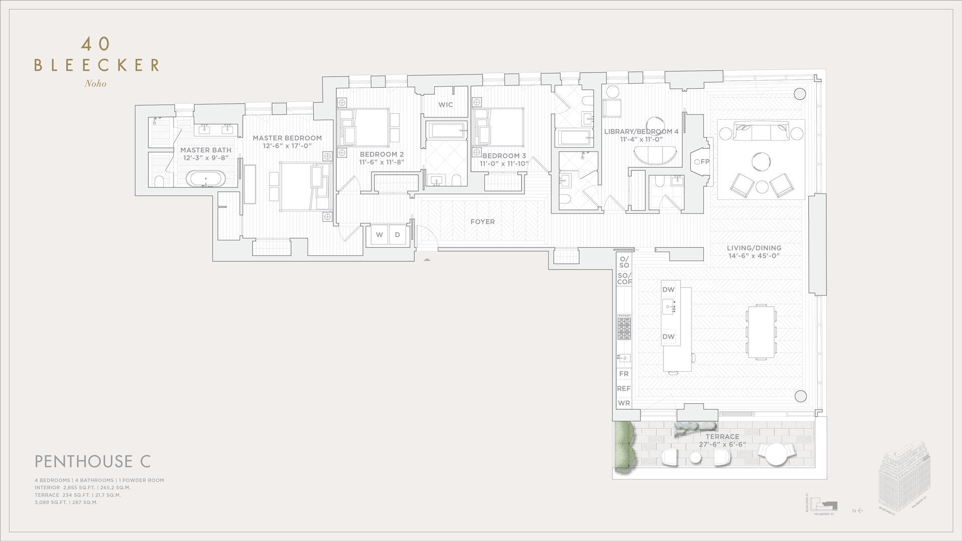 Floor plan of 40 Bleecker Street, PHC - NoHo, New York