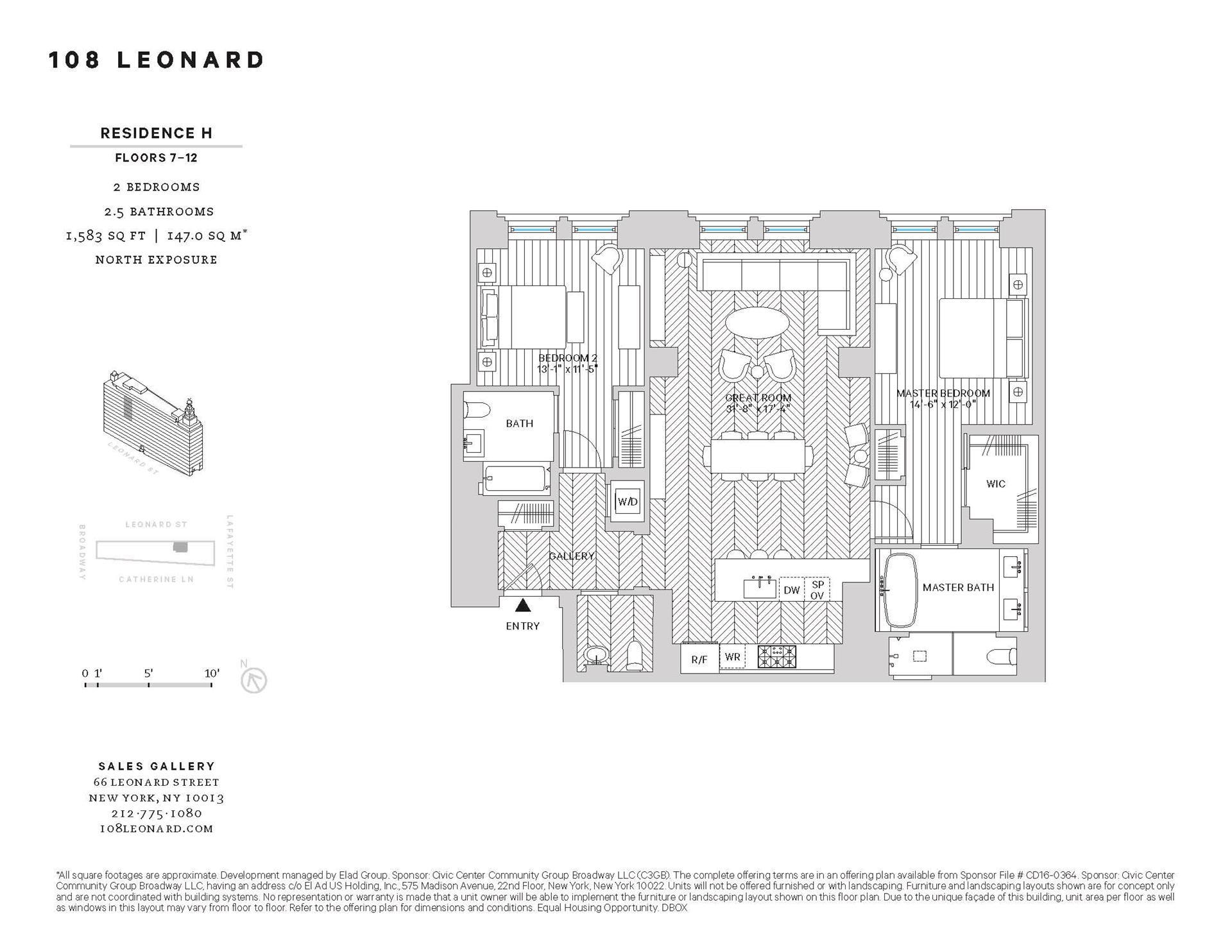 Floor plan of 108 Leonard St, 7H - TriBeCa, New York