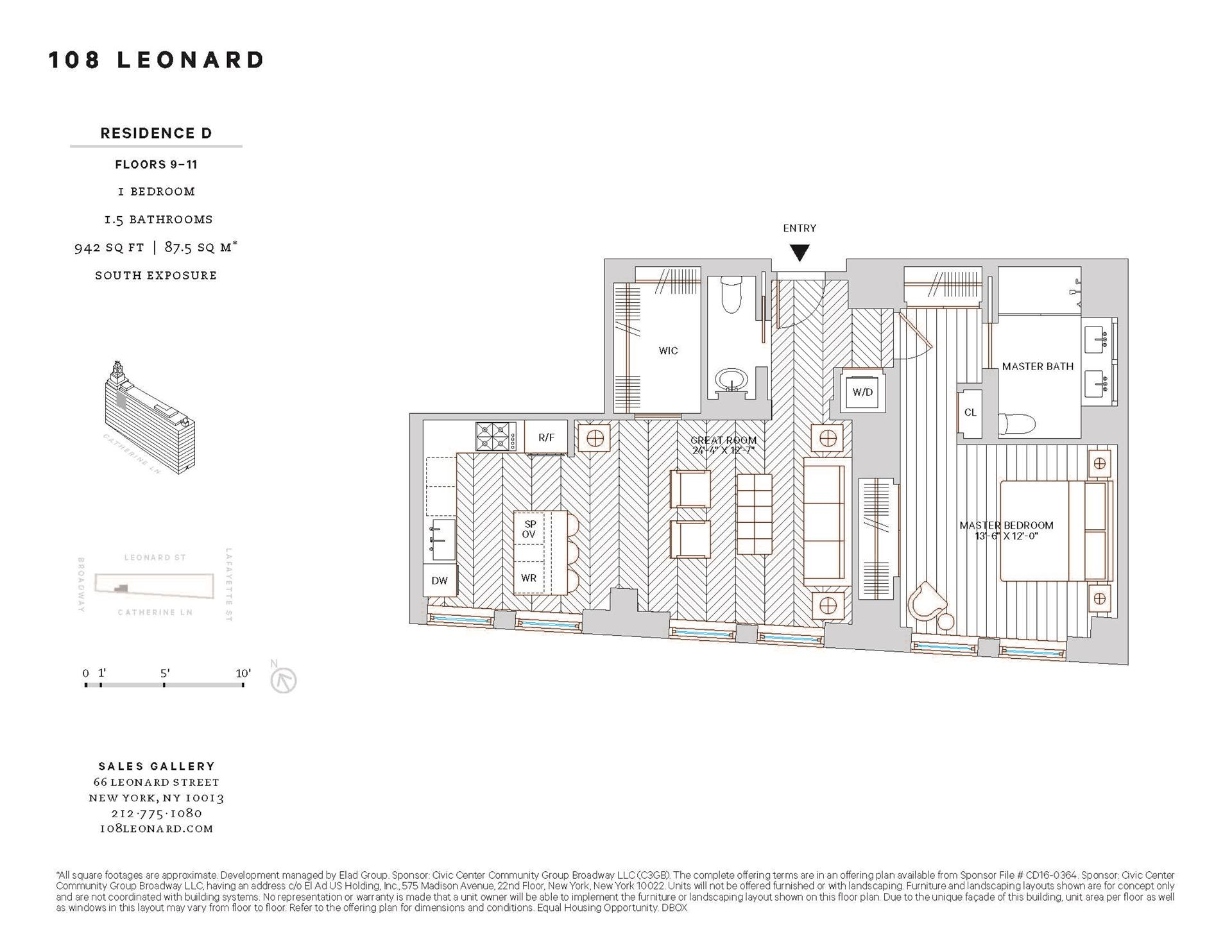 Floor plan of 108 Leonard St, 10D - TriBeCa, New York