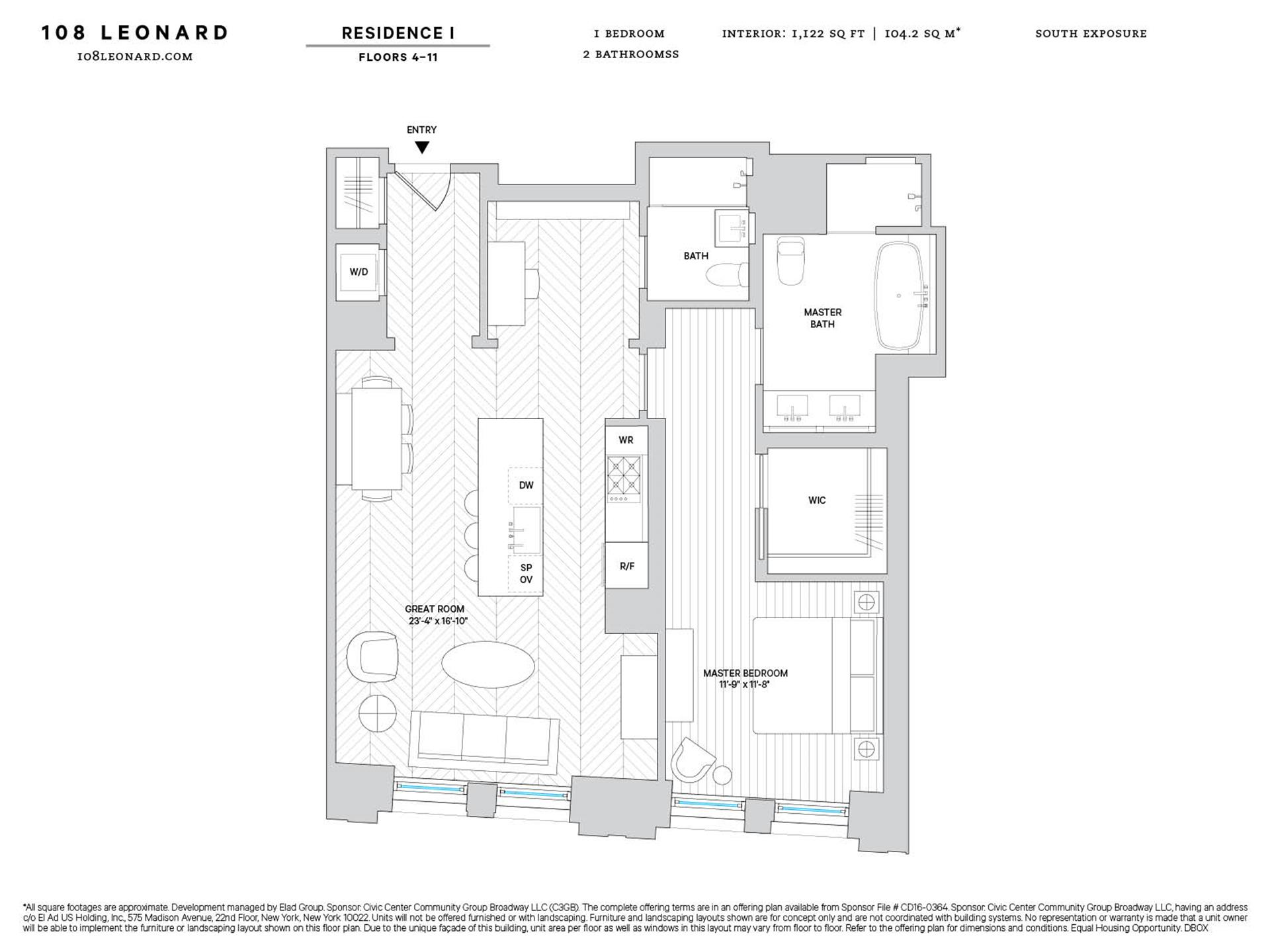 Floor plan of 108 Leonard St, 10I - TriBeCa, New York