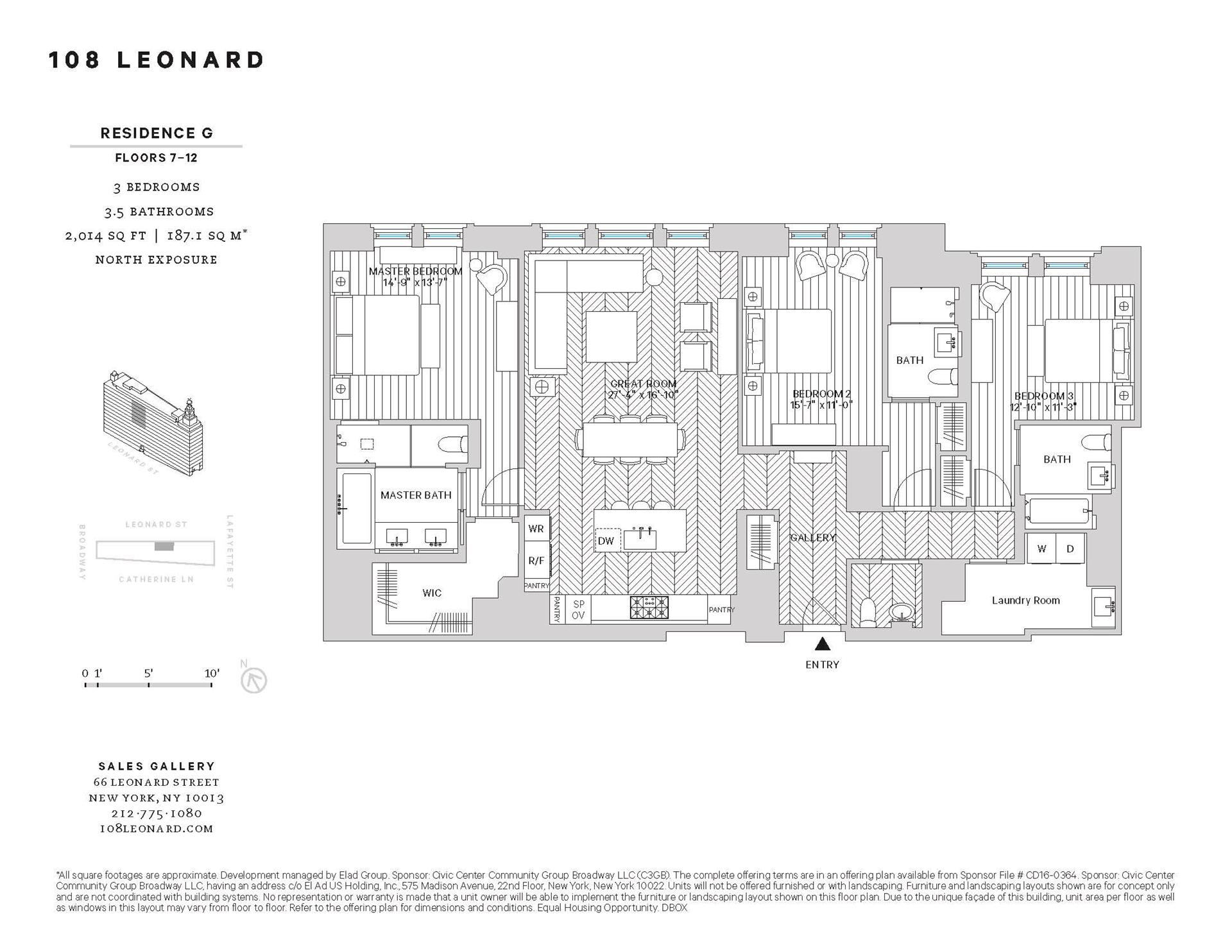 Floor plan of 108 Leonard St, 9G - TriBeCa, New York