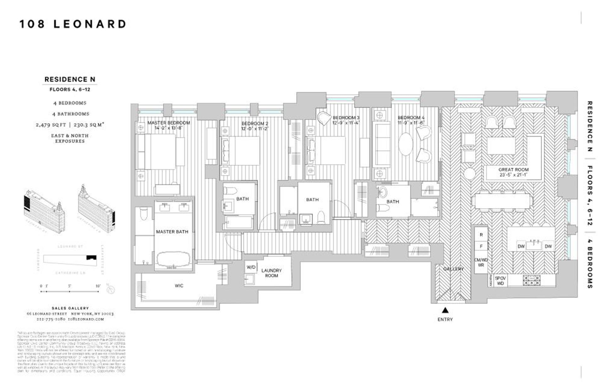 Floor plan of 108 Leonard Street, 9N - TriBeCa, New York