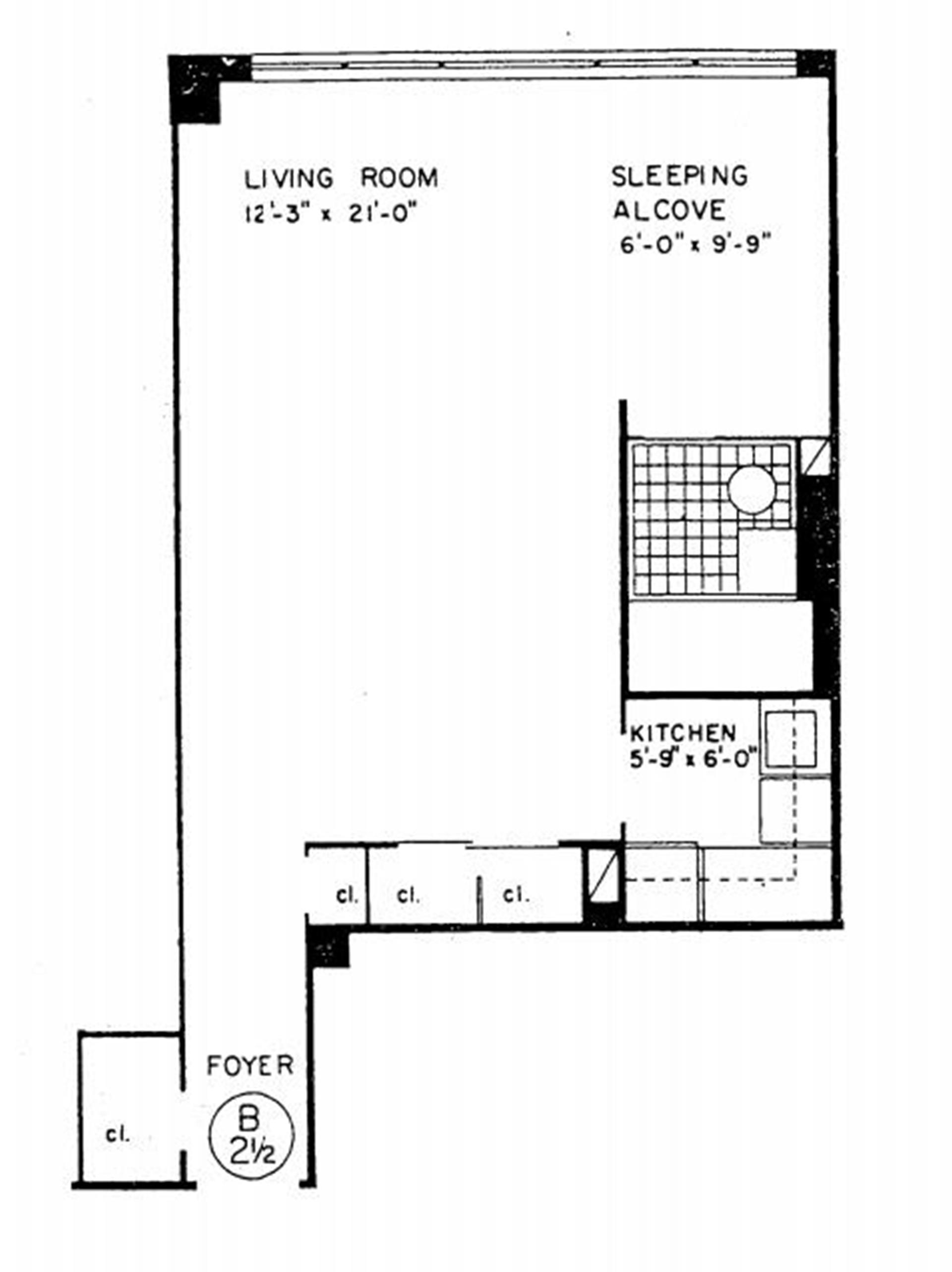 Floor plan of 240 East 55th St, 3B - Turtle Bay, New York