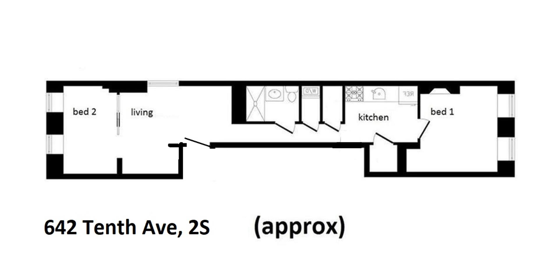 Floor plan of 642 Tenth Avenue, 2S - Clinton, New York