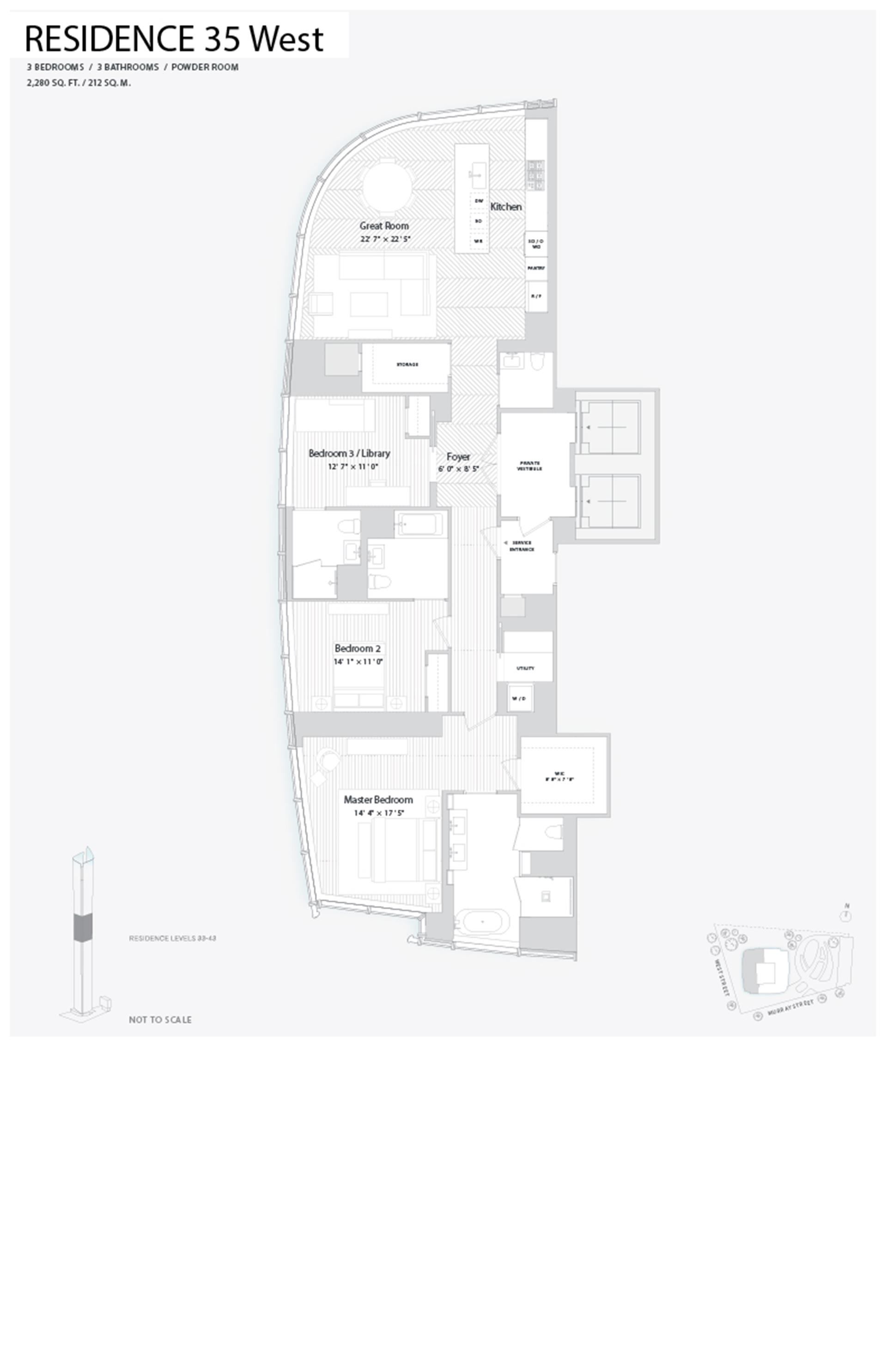 Floor plan of 111 Murray St, 35WEST - TriBeCa, New York
