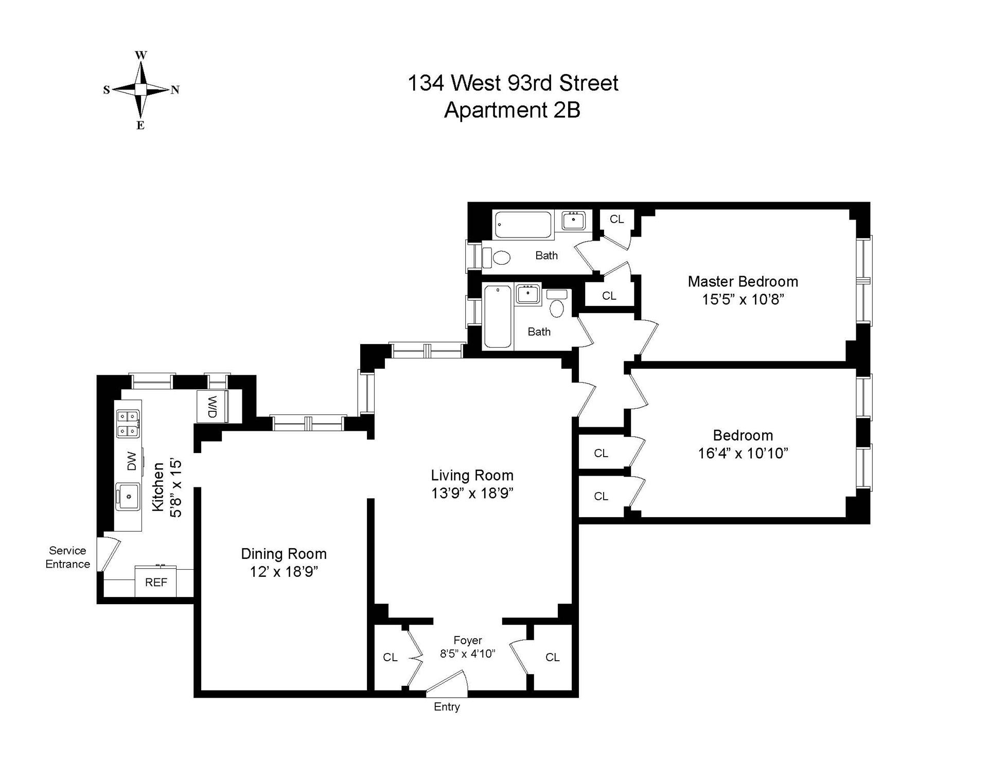 Floor plan of 134 West 93rd St, 2B - Upper West Side, New York