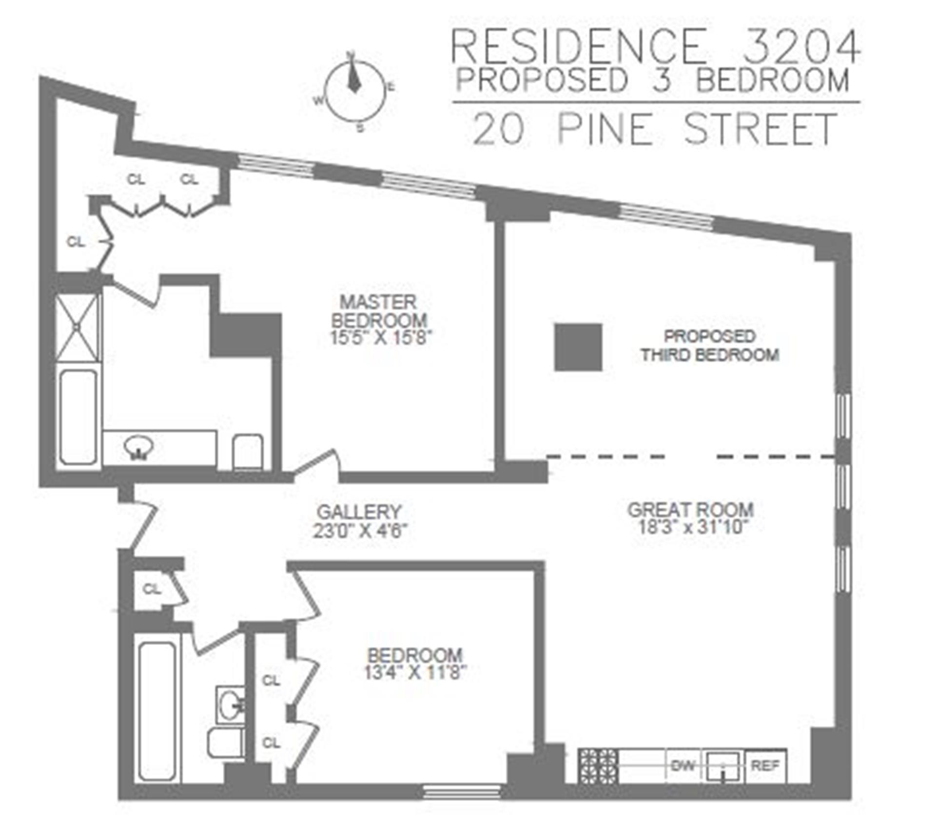 Floor plan of 20 Pine - The Collection, 20 Pine St, 3204 - Financial District, New York
